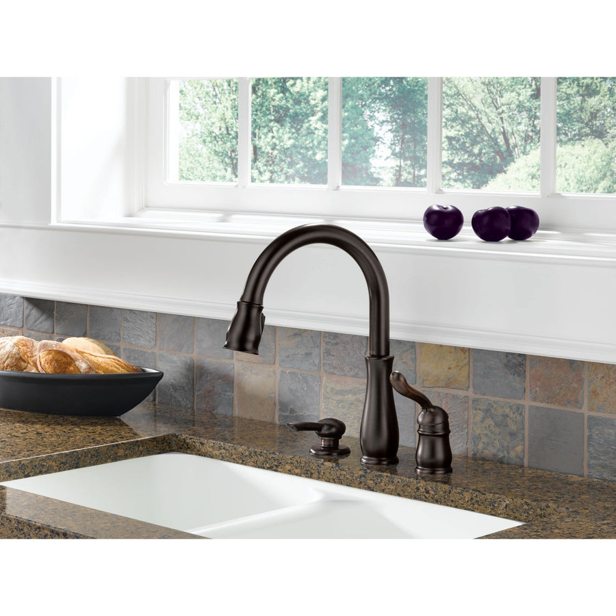 Delta Leland Collection Venetian Bronze Finish Single Handle Pull Down  Kitchen Sink Faucet And Soap Dispenser