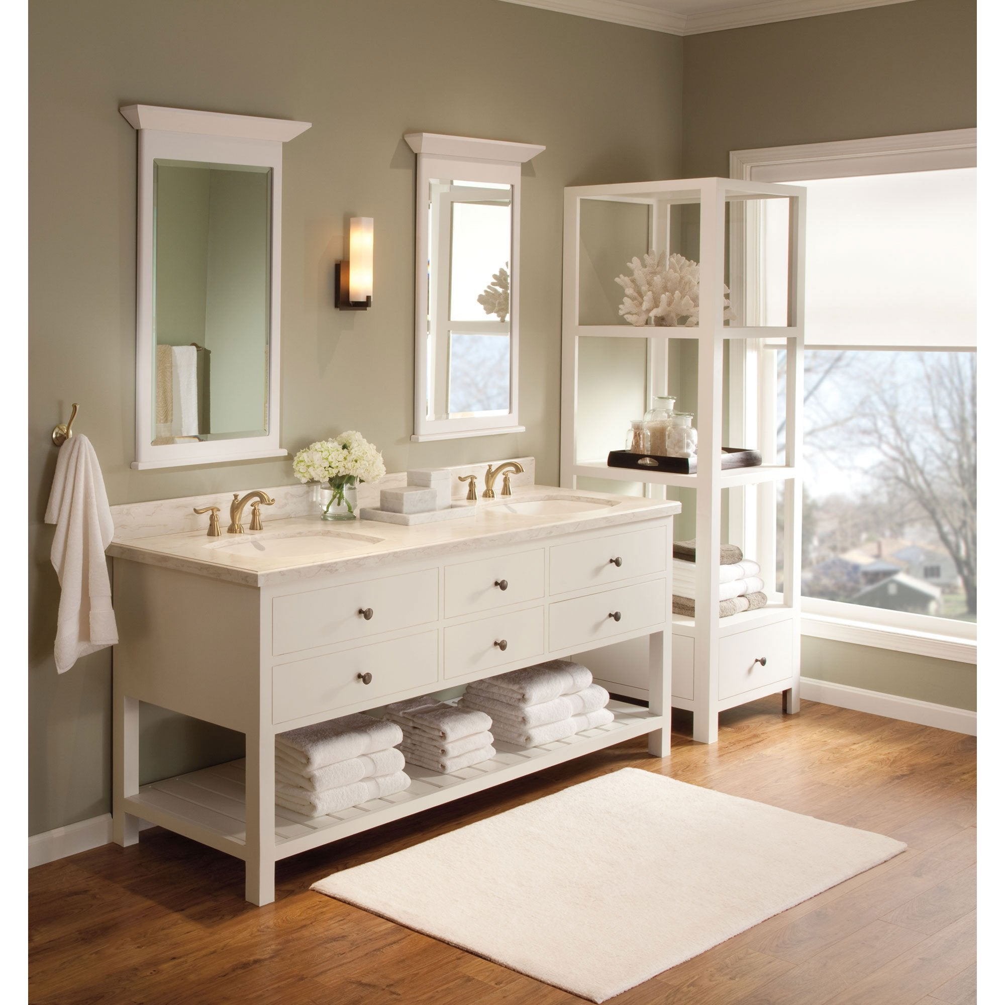 Gentil Delta Champagne Bronze Finish Linden Collection QUANTITY (2) Widespread  Bathroom Sink Faucets And Robe