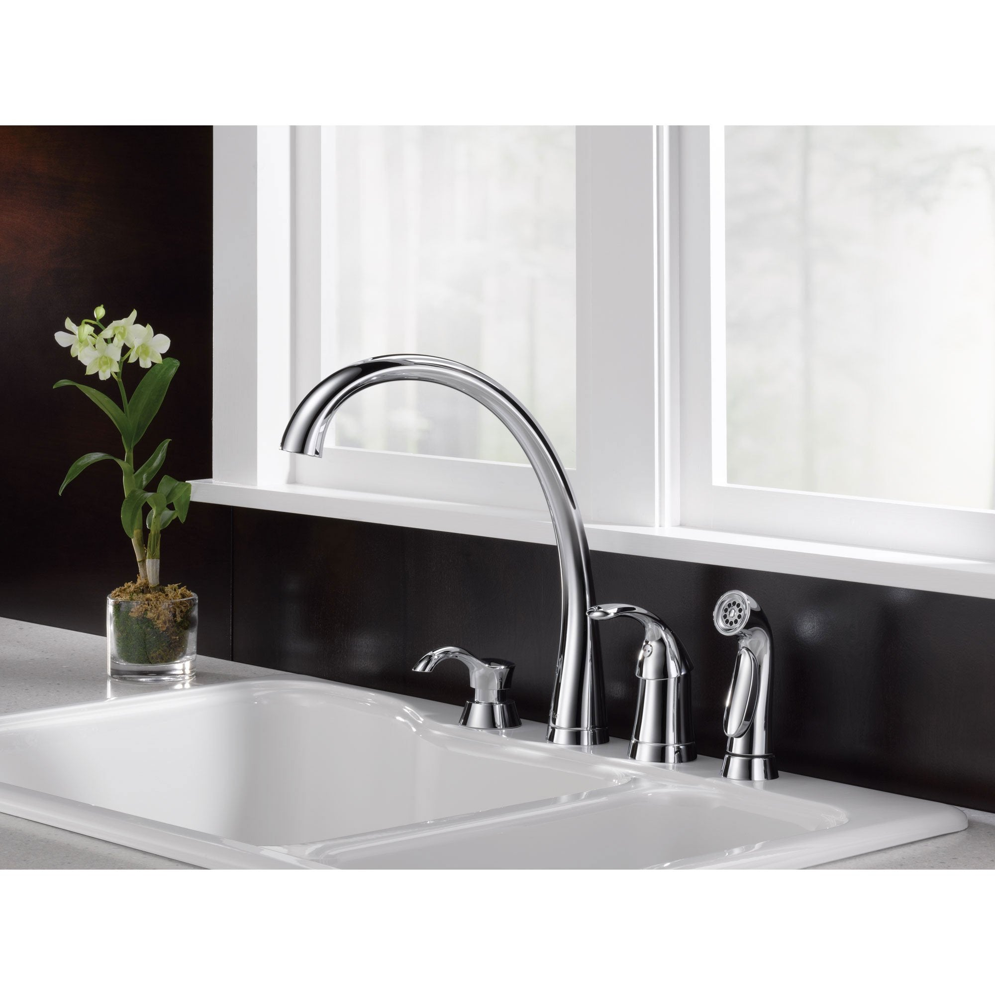 Delta Chrome Finish Pilar Modern Single Handle Kitchen Sink Faucet Wit Faucetlist Com