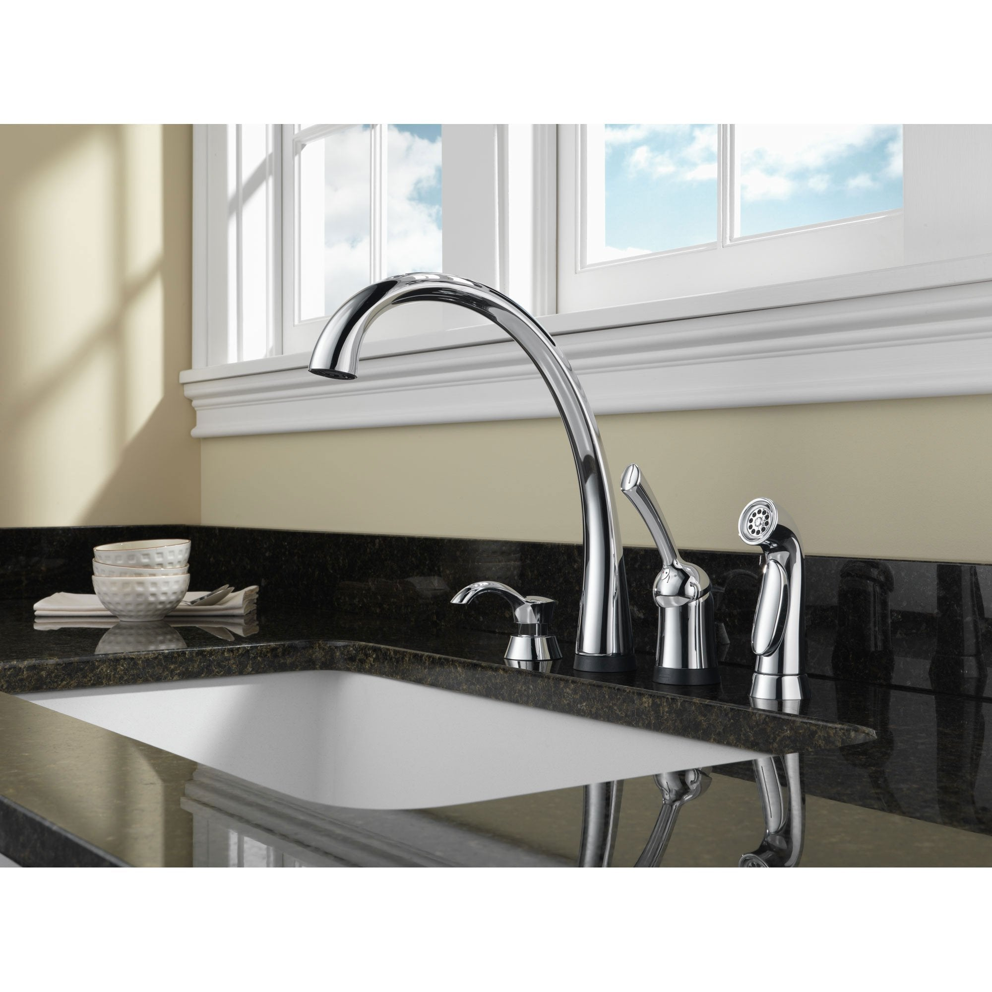 Delta Chrome Finish Pilar Collection Single Handle Kitchen Faucet with Touch2O Technology and Side Spray and Deck Mount Soap Dispenser Package D071CR