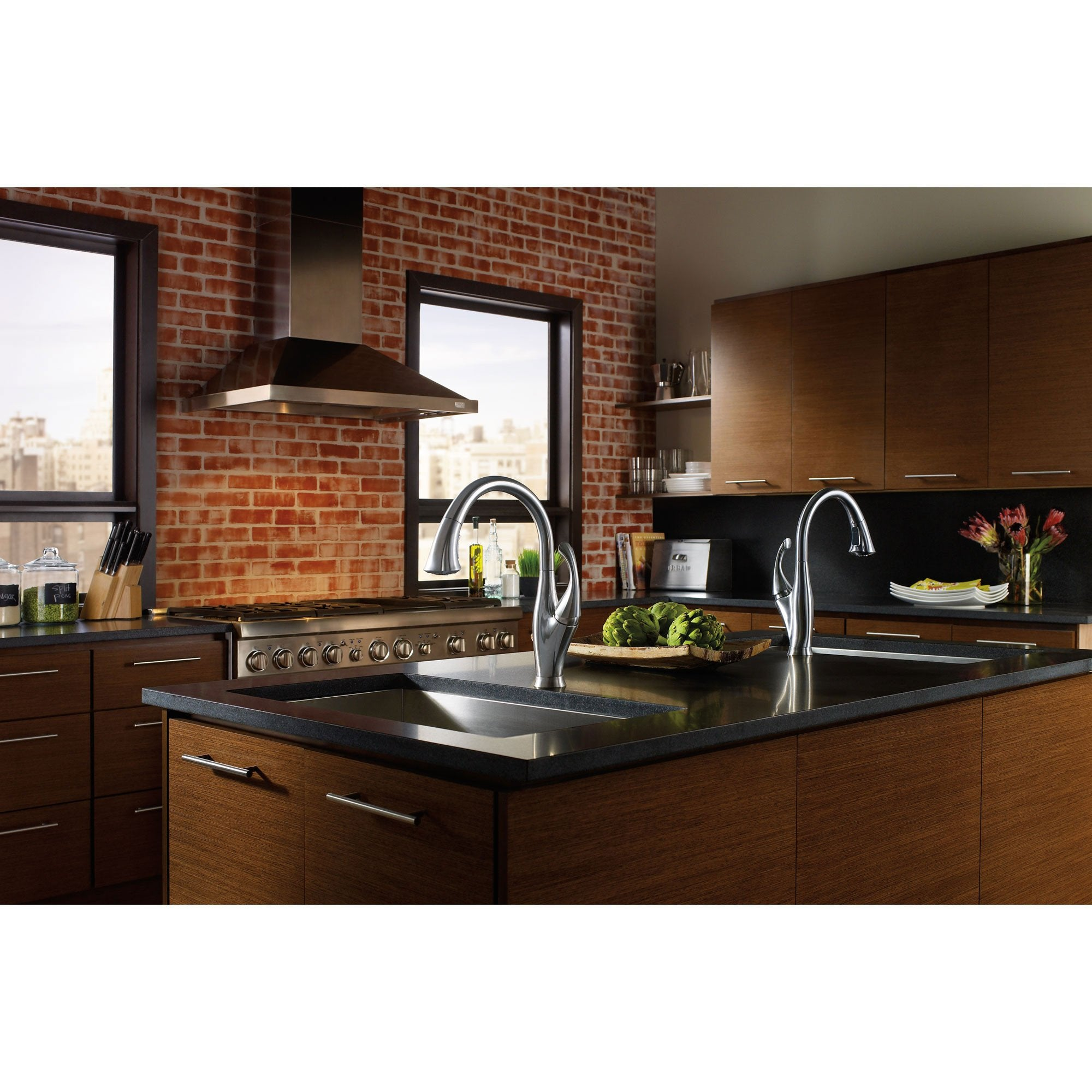 Fine Delta Arctic Stainless Finish Addison Single Handle Water Efficient Pull Down Kitchen Faucet And Pull Out Bar Prep Sink Faucet Package D078Cr Download Free Architecture Designs Embacsunscenecom