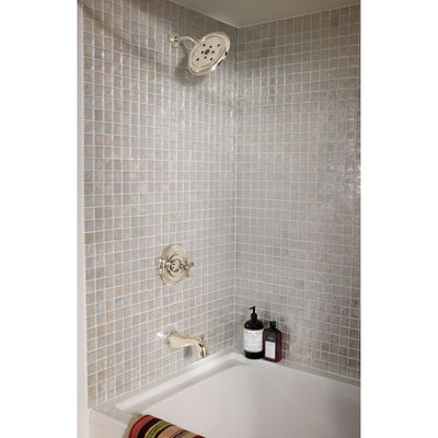 Delta Polished Nickel Finish Cassidy Monitor 14 Series Single Cross Handle Tub and Shower Faucet Combination INCLUDES Rough-in Valve Package D093CR