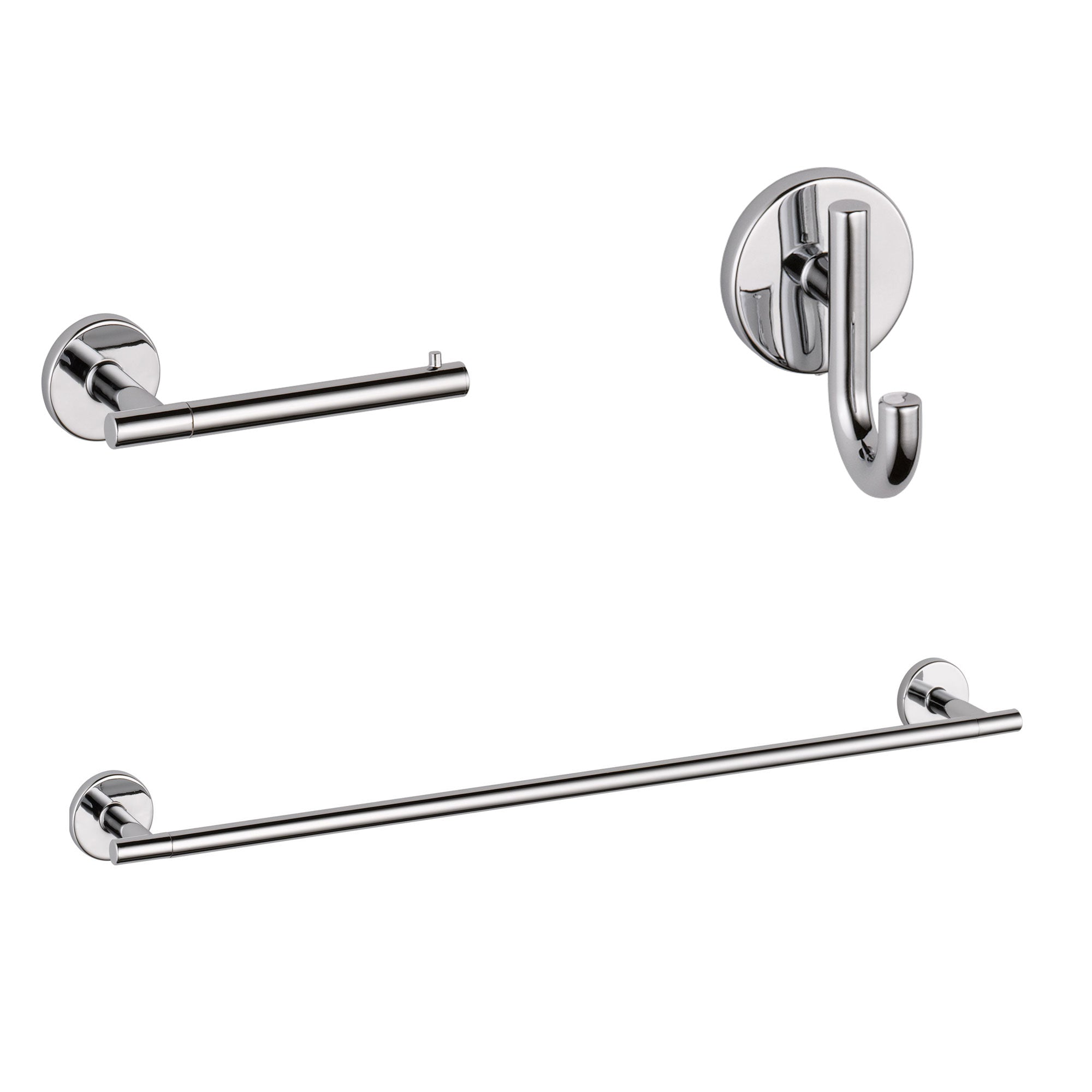 "Delta Trinsic Chrome BASICS Bathroom Accessory Set Includes: 24"" Towel Bar, Toilet Paper Holder, and Robe Hook D10001AP"