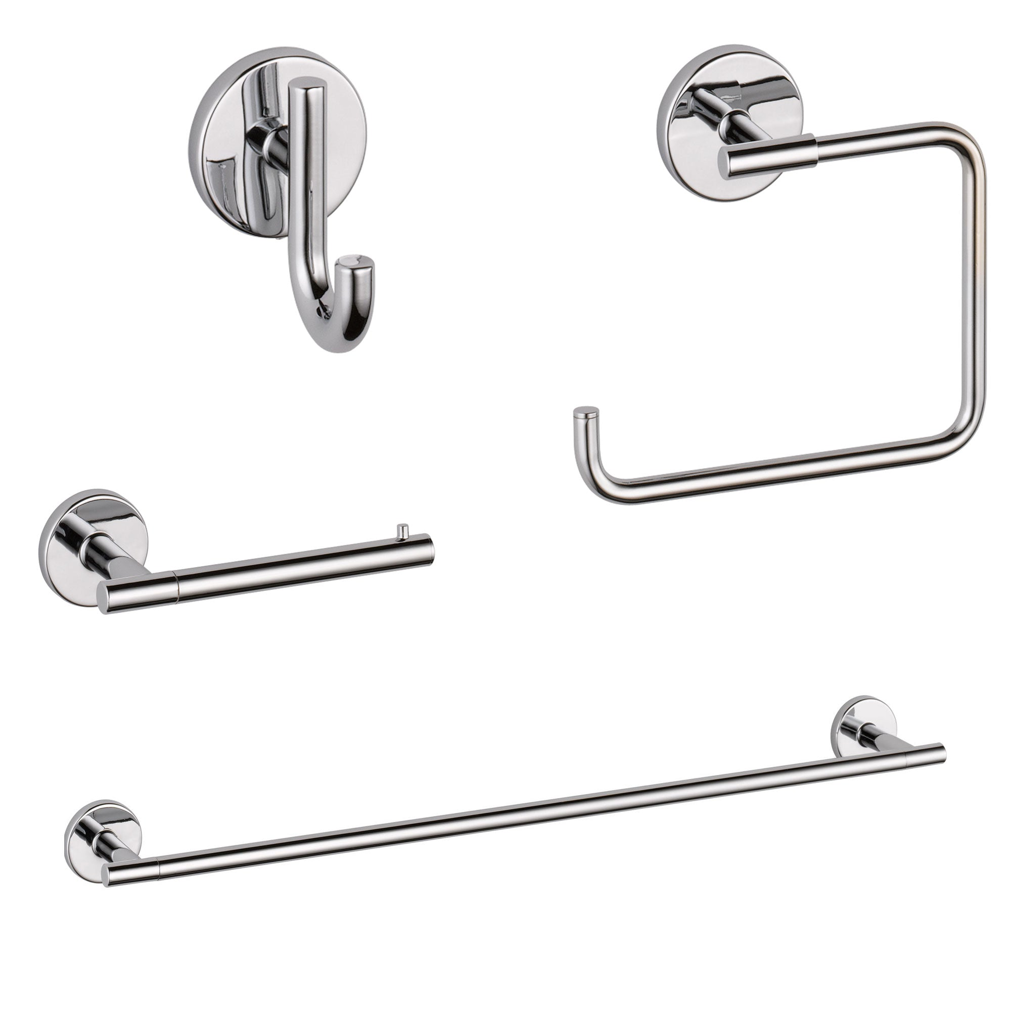 "Delta Trinsic Chrome STANDARD Bathroom Accessory Set Includes: 24"" Towel Bar, Toilet Paper Holder, Robe Hook, and Towel Ring D10002AP"