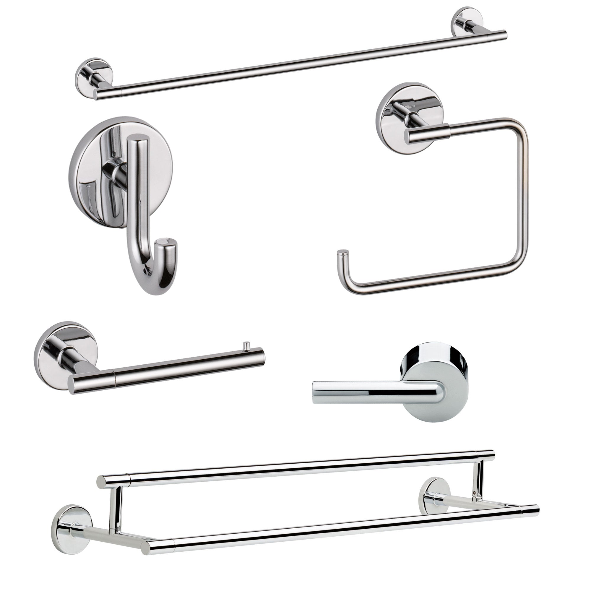 "Delta Trinsic Chrome DELUXE Accessory Set Includes: 24"" Towel Bar, Paper Holder, Towel Ring, Robe Hook, Tank Lever, & 24"" Double Towel Bar D10003AP"