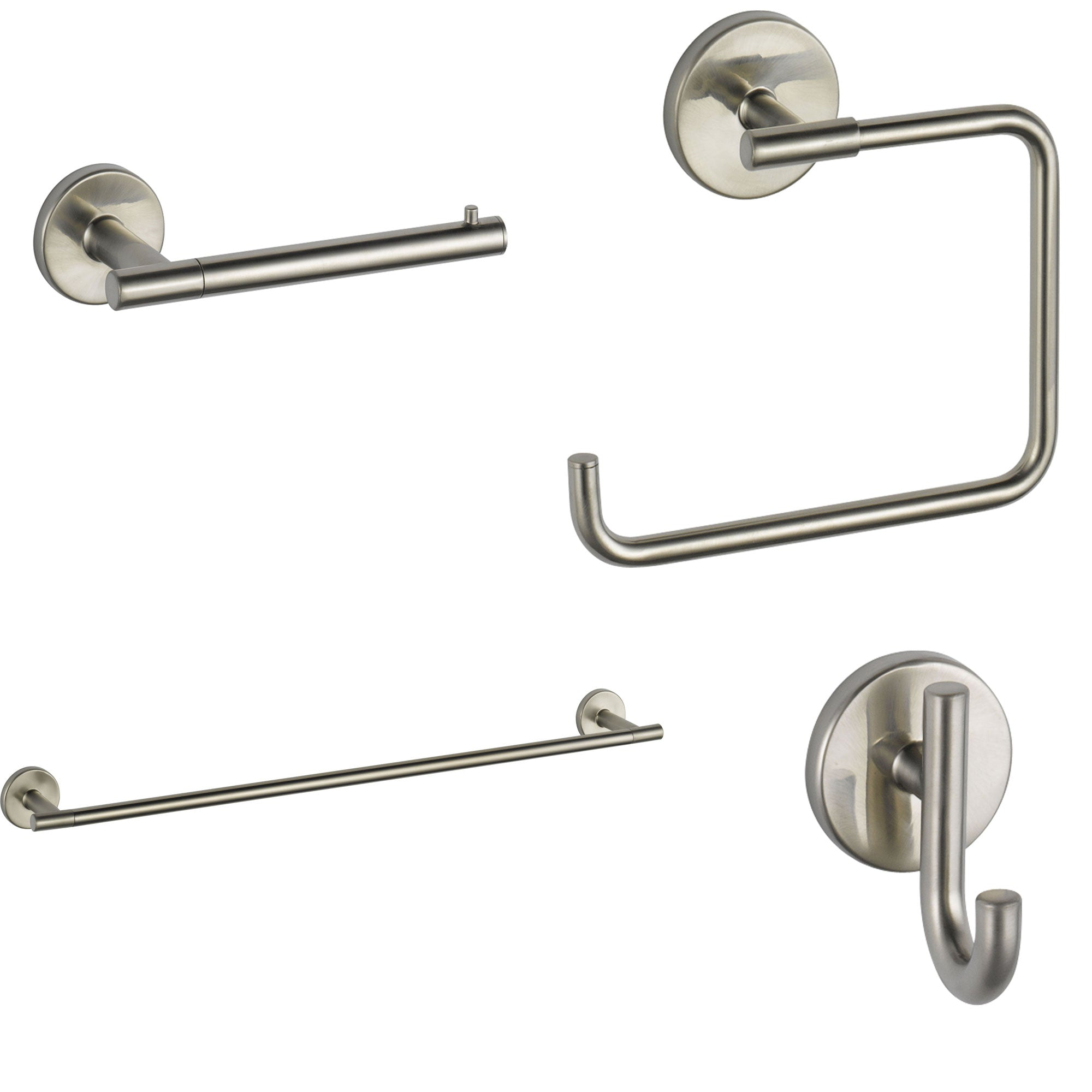 "Delta Trinsic Stainless Steel Finish STANDARD Bathroom Accessory Set Includes: 24"" Towel Bar, Toilet Paper Holder, Robe Hook, and Towel Ring D10005AP"