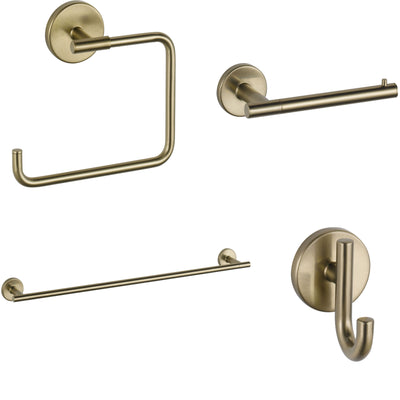 "Delta Trinsic Champagne Bronze STANDARD Bathroom Accessory Set Includes: 24"" Towel Bar, Toilet Paper Holder, Robe Hook, and Towel Ring D10008AP"