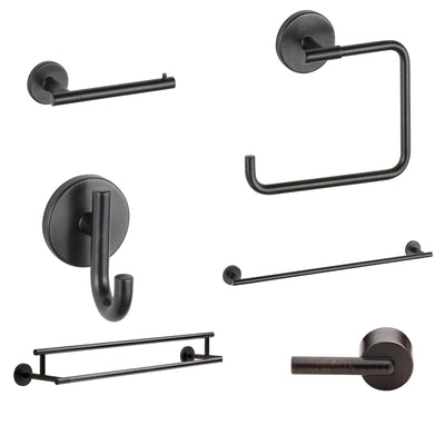 "Delta Trinsic Venetian Bronze DELUXE Accessory Set Includes: 24"" Double and Single Towel Bar, Paper Holder, Towel Ring, Robe Hook, Tank Lever D10012AP"