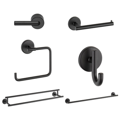 "Delta Trinsic Matte Black DELUXE Accessory Set: 24"" Towel Bar, Paper Holder, Towel Ring, Robe Hook, Tank Lever, & 24"" Double Towel Bar D10015AP"