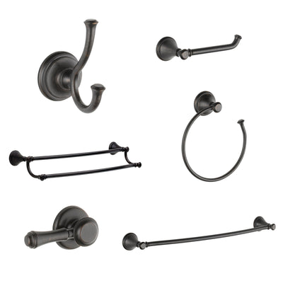 "Delta Cassidy Venetian Bronze DELUXE Accessory Set: 24"" Towel Bar, Paper Holder, Towel Ring, Robe Hook, Tank Lever, & 24"" Double Towel Bar D10030AP"