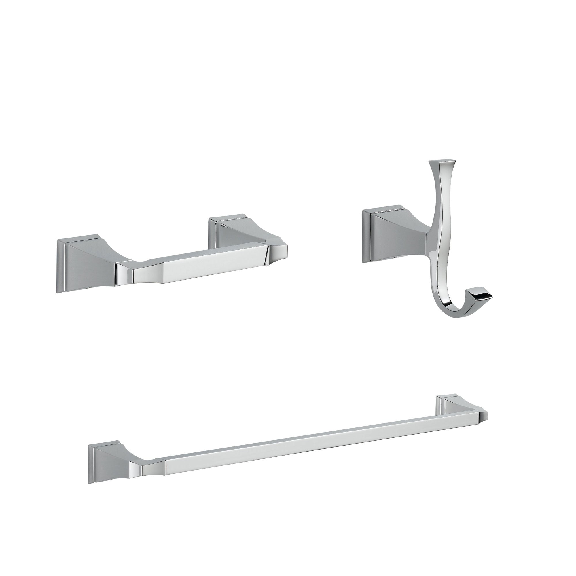 "Delta Dryden Chrome BASICS Bathroom Accessory Set Includes: 24"" Towel Bar, Toilet Paper Holder, and Robe Hook D10031AP"