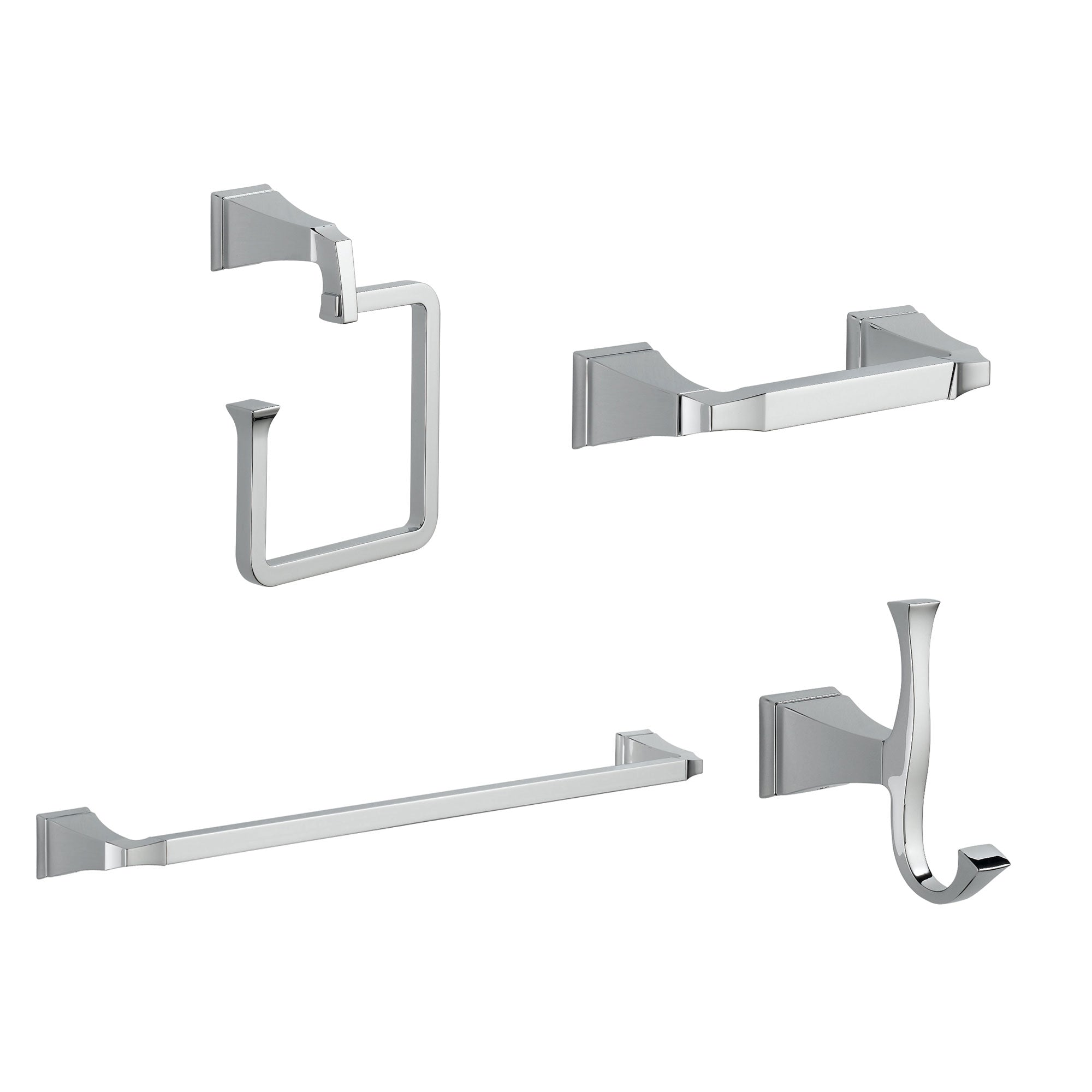 "Delta Dryden Chrome STANDARD Bathroom Accessory Set Includes: 24"" Towel Bar, Toilet Paper Holder, Robe Hook, and Towel Ring D10032AP"