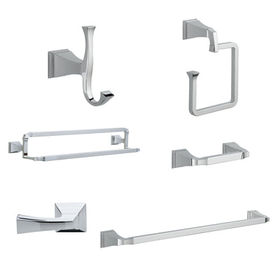 "Delta Dryden Chrome DELUXE Accessory Set Includes: 24"" Towel Bar, Paper Holder, Towel Ring, Robe Hook, Tank Lever, & 24"" Double Towel Bar D10033AP"