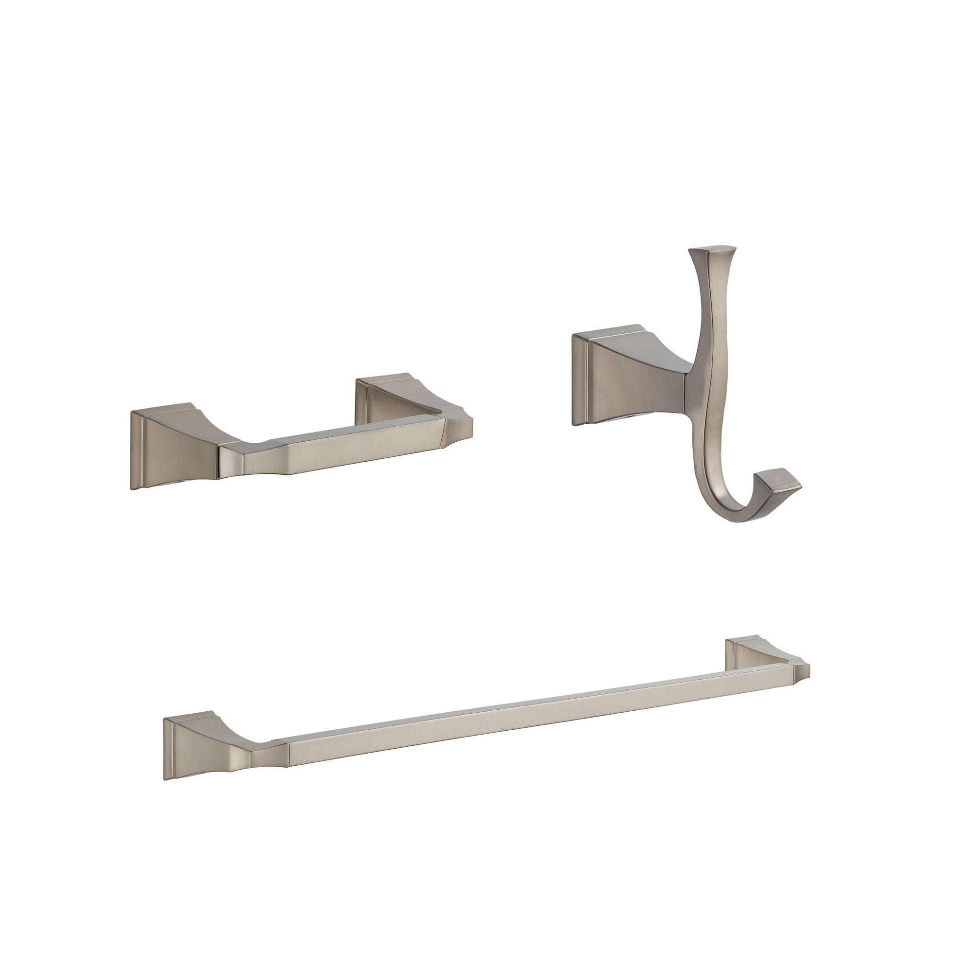 "Delta Dryden Stainless Steel Finish BASICS Bathroom Accessory Set Includes: 24"" Towel Bar, Toilet Paper Holder, and Robe Hook D10034AP"