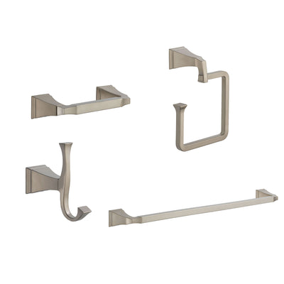 "Delta Dryden Stainless Steel Finish STANDARD Bathroom Accessory Set Includes: 24"" Towel Bar, Toilet Paper Holder, Robe Hook, and Towel Ring D10035AP"