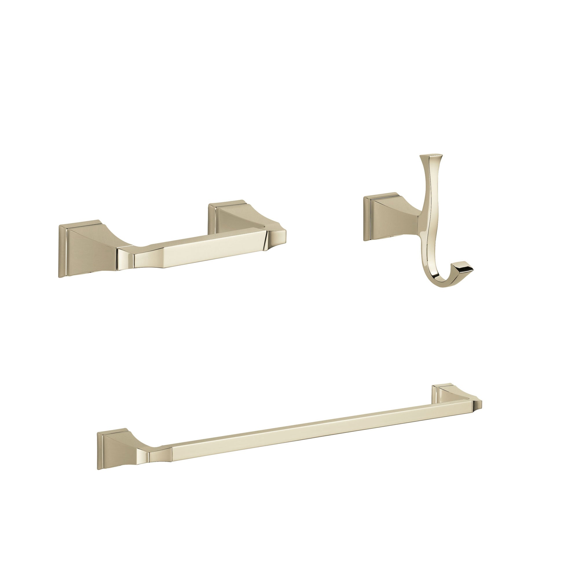 "Delta Dryden Polished Nickel BASICS Bathroom Accessory Set Includes: 24"" Towel Bar, Toilet Paper Holder, and Robe Hook D10037AP"
