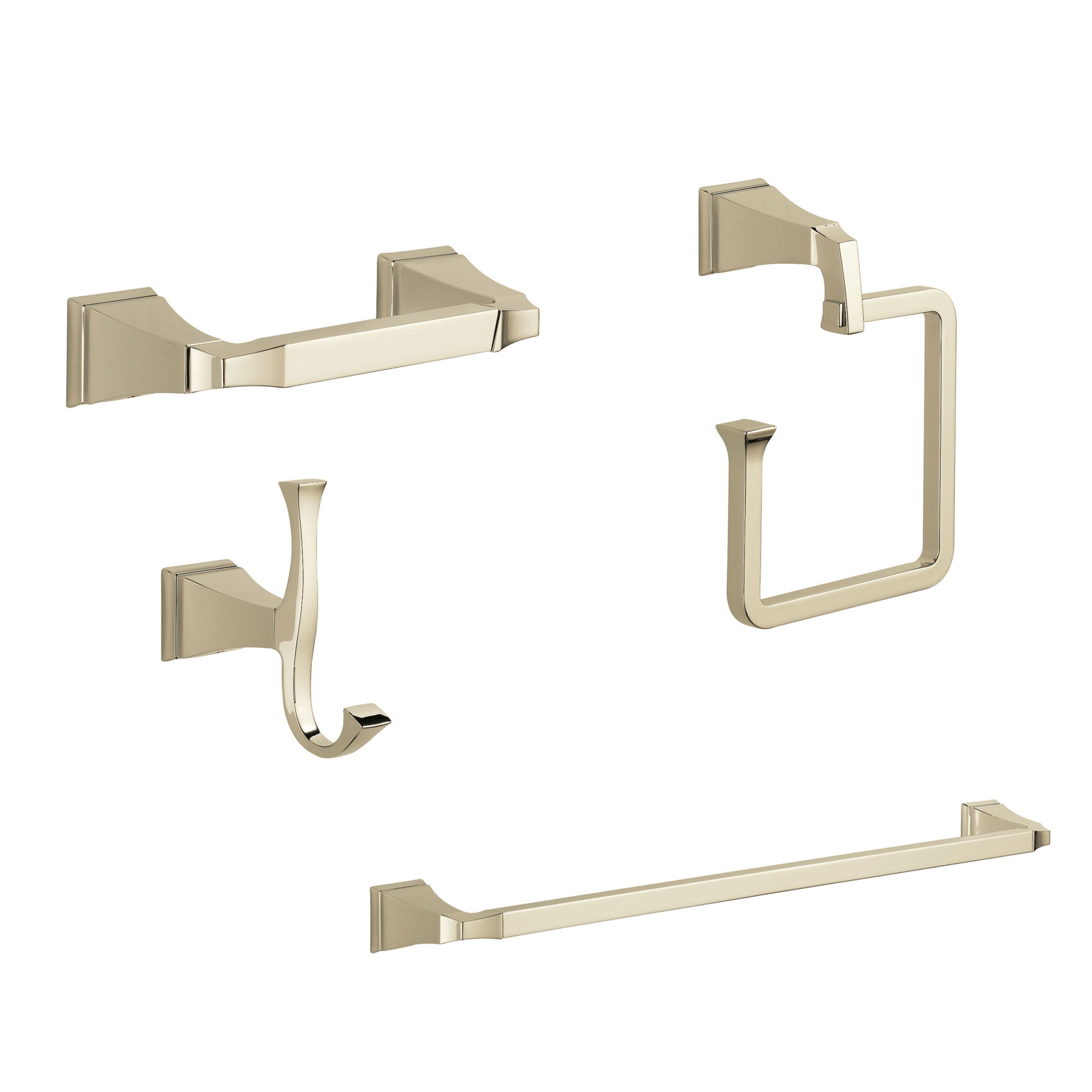 "Delta Dryden Polished Nickel STANDARD Bathroom Accessory Set Includes: 24"" Towel Bar, Toilet Paper Holder, Robe Hook, and Towel Ring D10038AP"