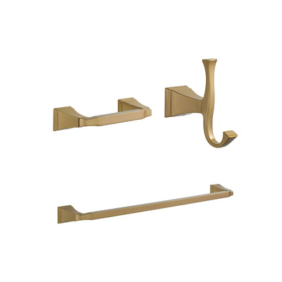 "Delta Dryden Champagne Bronze BASICS Bathroom Accessory Set Includes: 24"" Towel Bar, Toilet Paper Holder, and Robe Hook D10040AP"