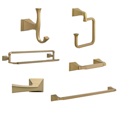 "Delta Dryden Champagne Bronze DELUXE Accessory Set: 24"" Towel Bar, Paper Holder, Towel Ring, Robe Hook, Tank Lever, & 24"" Double Towel Bar D10042AP"