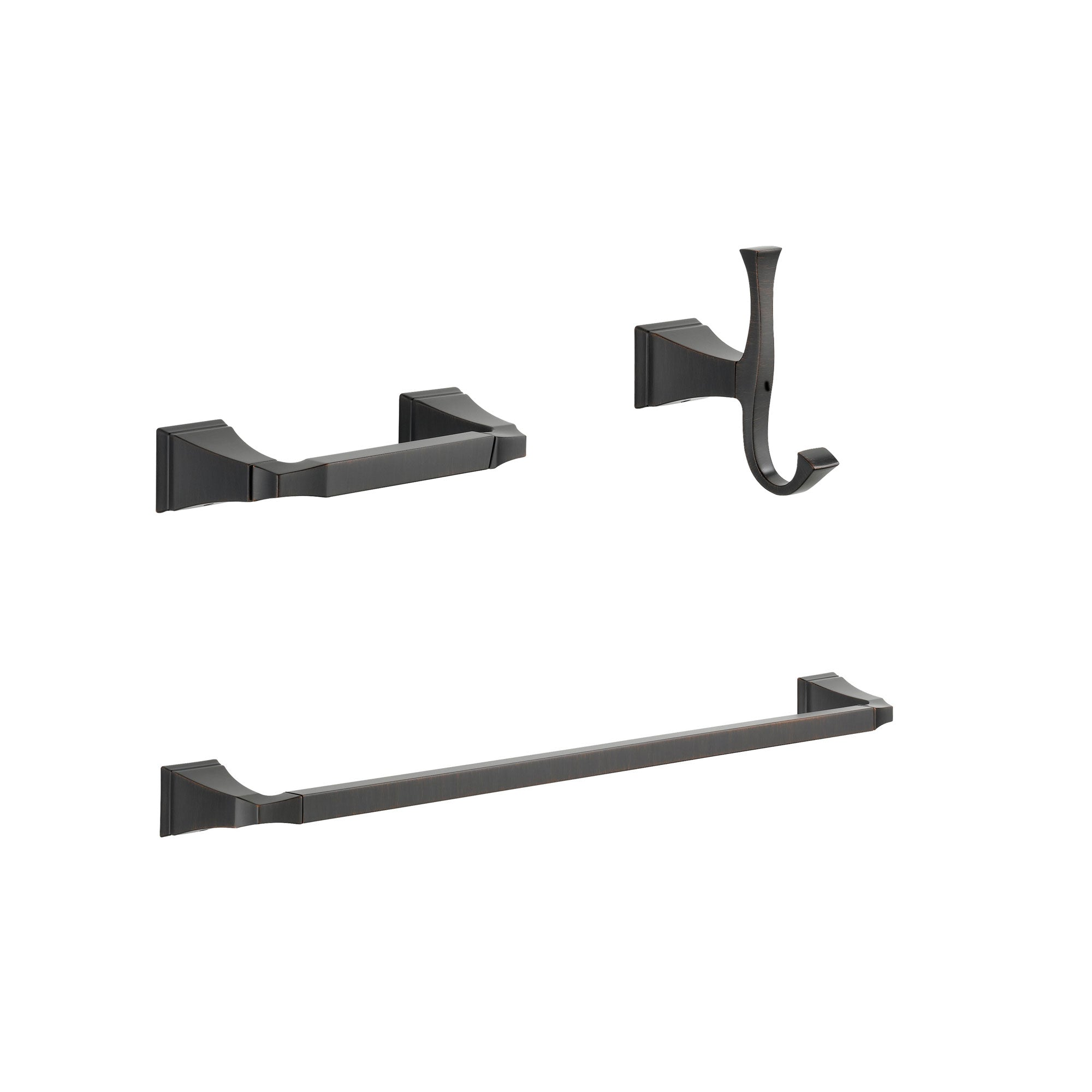 "Delta Dryden Venetian Bronze BASICS Bathroom Accessory Set Includes: 24"" Towel Bar, Toilet Paper Holder, and Robe Hook D10043AP"