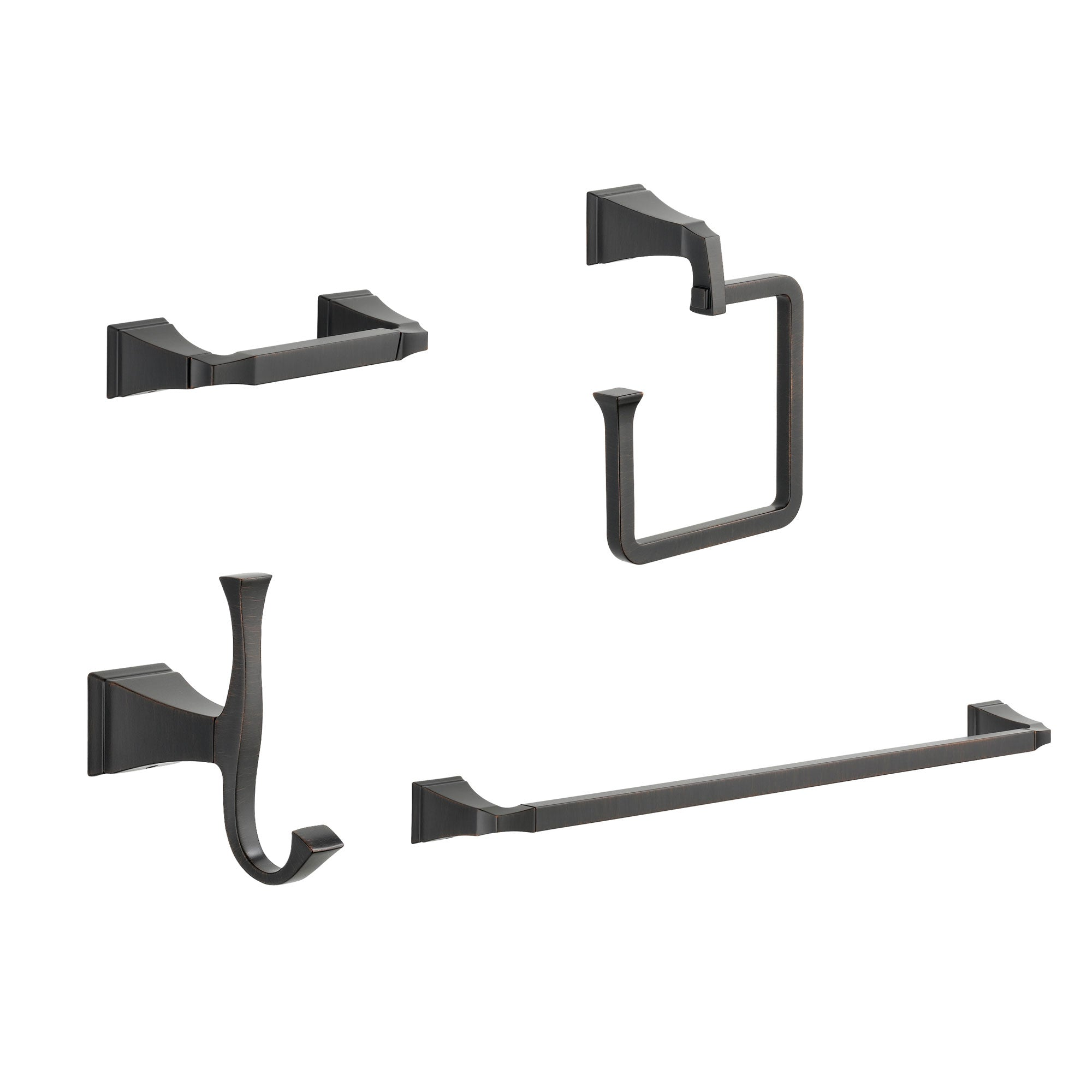 "Delta Dryden Venetian Bronze STANDARD Bathroom Accessory Set Includes: 24"" Towel Bar, Toilet Paper Holder, Robe Hook, and Towel Ring D10044AP"