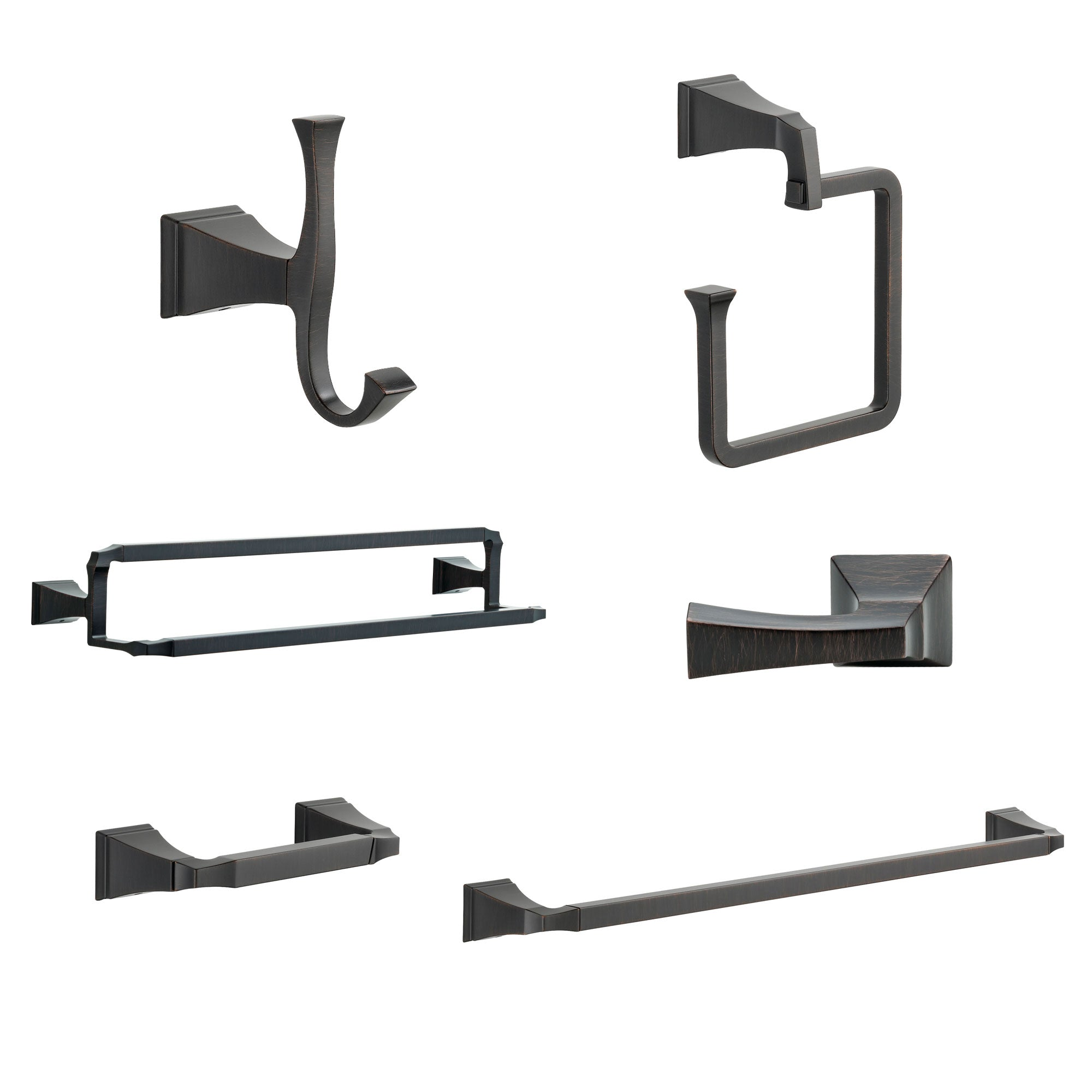 "Delta Dryden Venetian Bronze DELUXE Accessory Set: 24"" Towel Bar, Paper Holder, Towel Ring, Robe Hook, Tank Lever, & 24"" Double Towel Bar D10045AP"