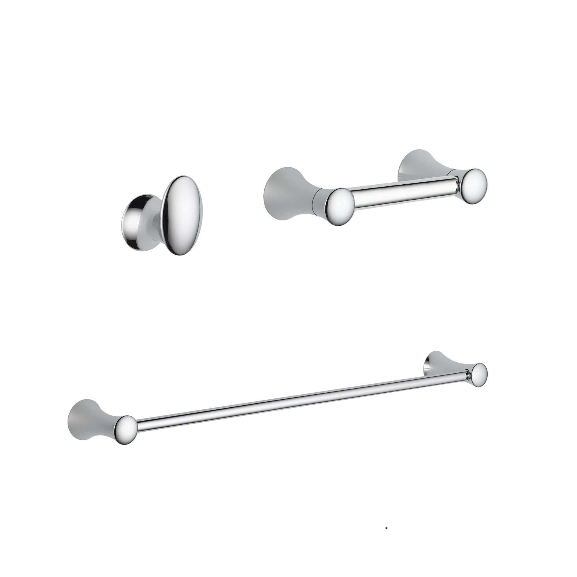 "Delta Lahara Chrome BASICS Bathroom Accessory Set Includes: 24"" Towel Bar, Toilet Paper Holder, and Robe Hook D10046AP"