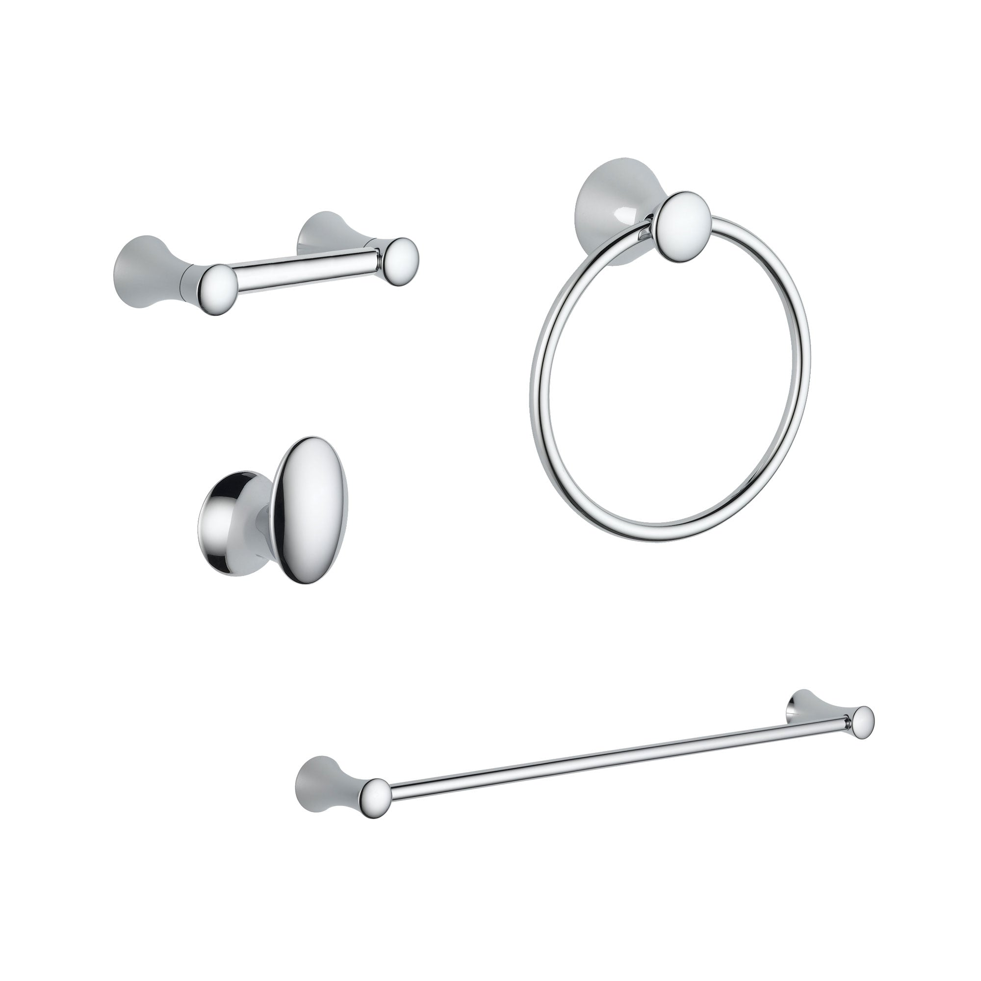 "Delta Lahara Chrome DELUXE Bathroom Accessory Set Includes: 24"" Towel Bar, Toilet Paper Holder, Robe Hook, and Towel Ring D10047AP"