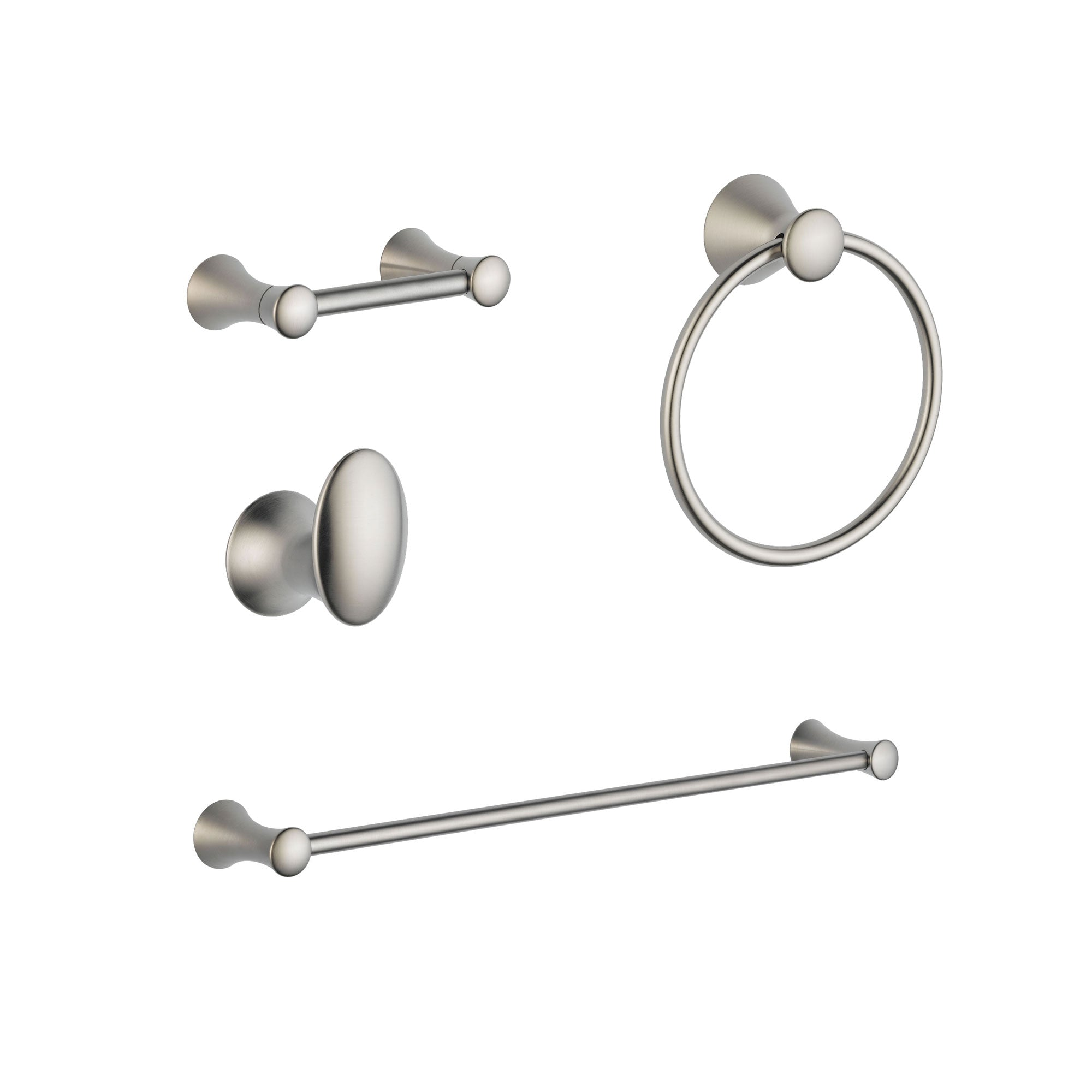 "Delta Lahara Stainless Steel Finish DELUXE Bathroom Accessory Set Includes: 24"" Towel Bar, Toilet Paper Holder, Robe Hook, and Towel Ring D10049AP"