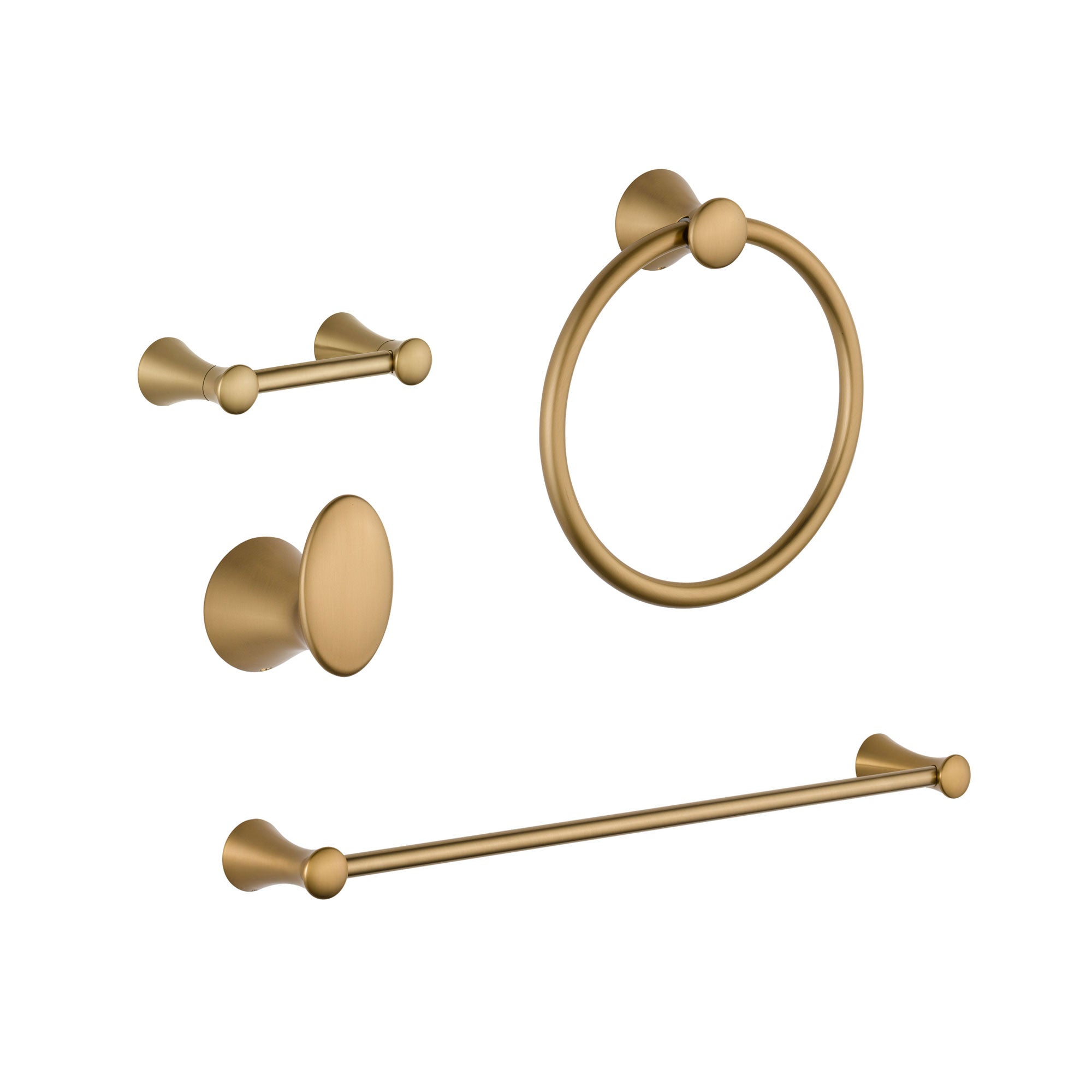 "Delta Lahara Champagne Bronze DELUXE Bathroom Accessory Set Includes: 24"" Towel Bar, Toilet Paper Holder, Robe Hook, and Towel Ring D10051AP"