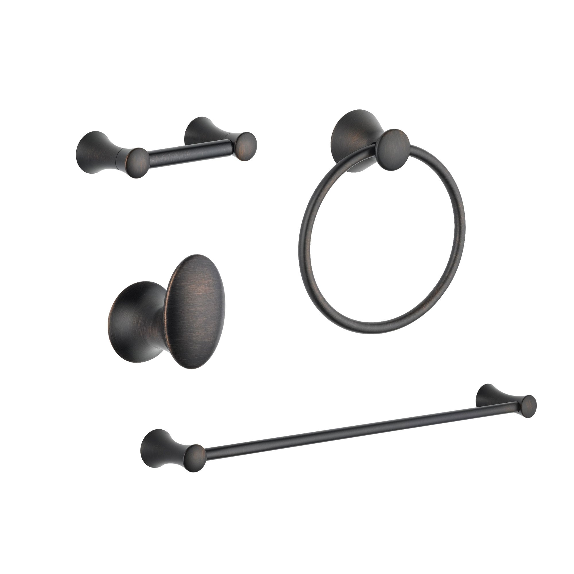 "Delta Lahara Venetian Bronze DELUXE Bathroom Accessory Set Includes: 24"" Towel Bar, Toilet Paper Holder, Robe Hook, and Towel Ring D10053AP"
