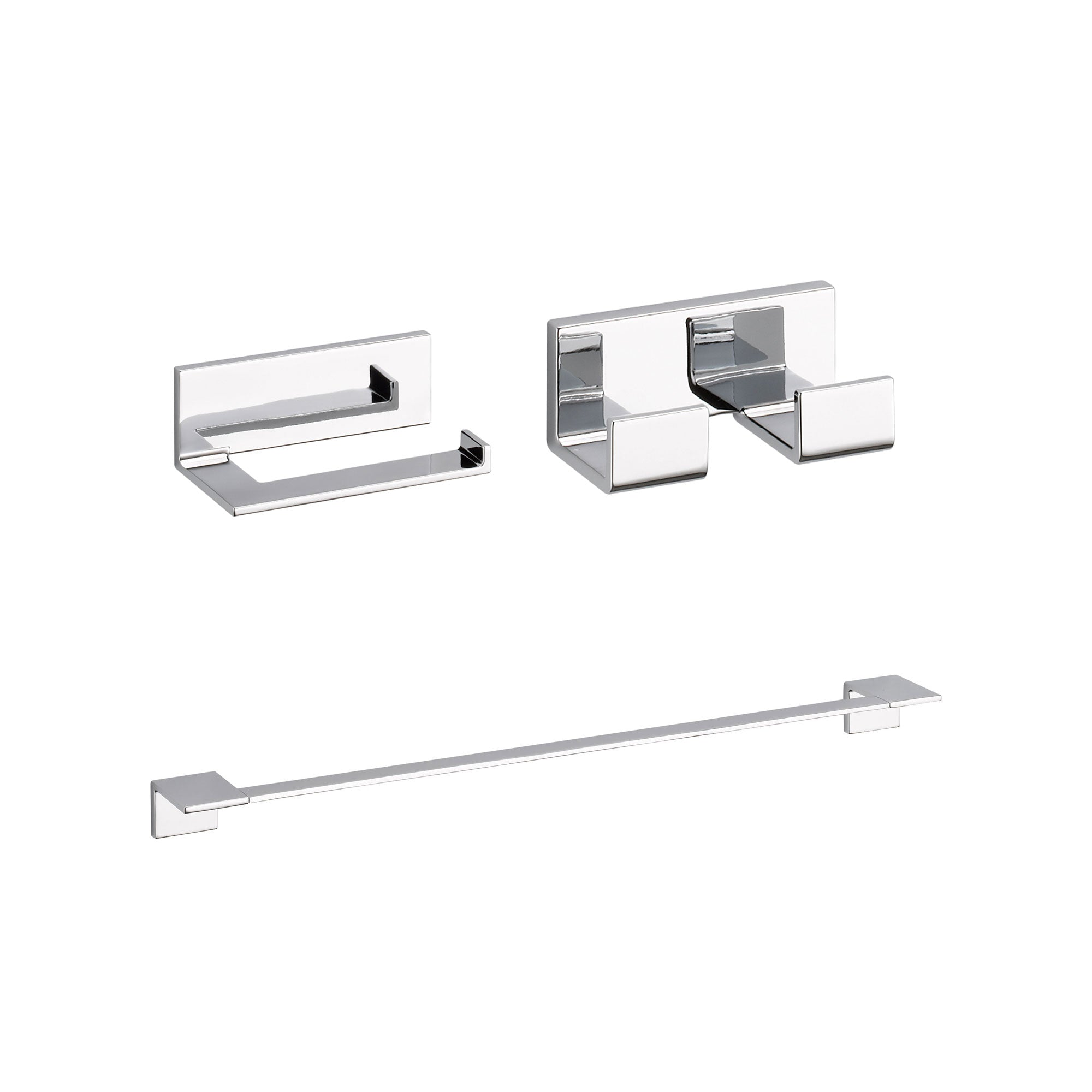 "Delta Vero Chrome BASICS Bathroom Accessory Set Includes: 24"" Towel Bar, Toilet Paper Holder, and Double Robe Hook D10054AP"