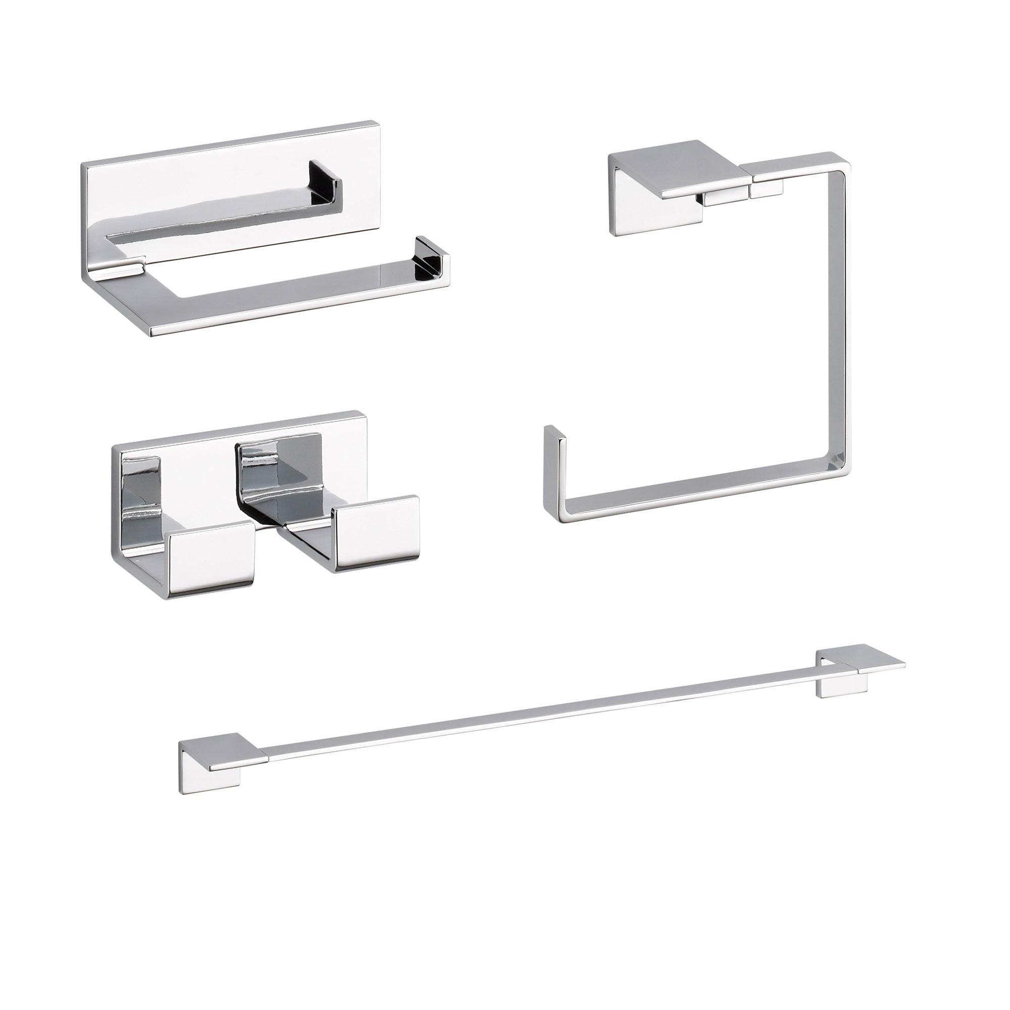 "Delta Vero Chrome STANDARD Bathroom Accessory Set Includes: 24"" Towel Bar, Toilet Paper Holder, Double Robe Hook, and Towel Ring D10055AP"