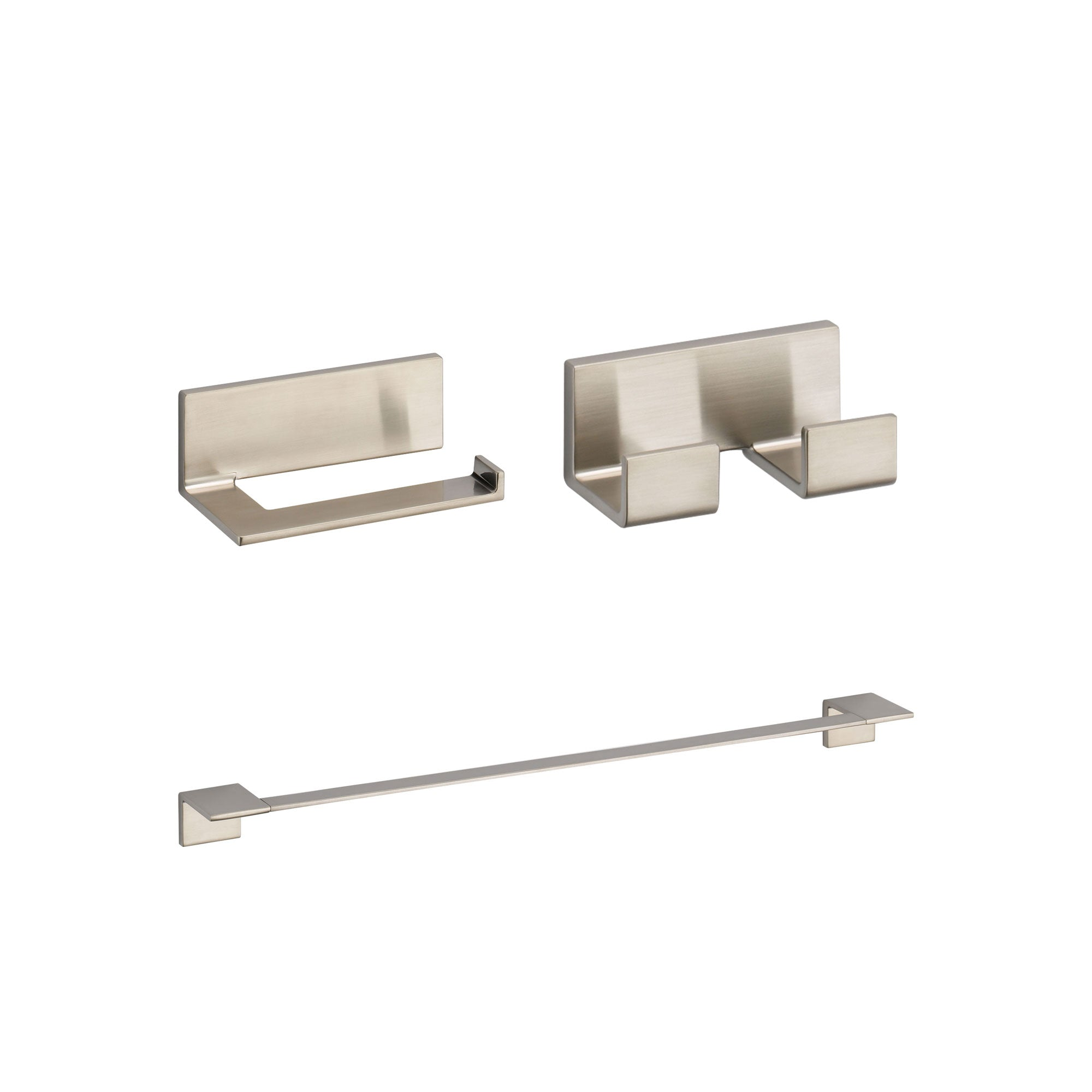 "Delta Vero Stainless Steel Finish BASICS Bathroom Accessory Set Includes: 24"" Towel Bar, Toilet Paper Holder, and Double Robe Hook D10057AP"