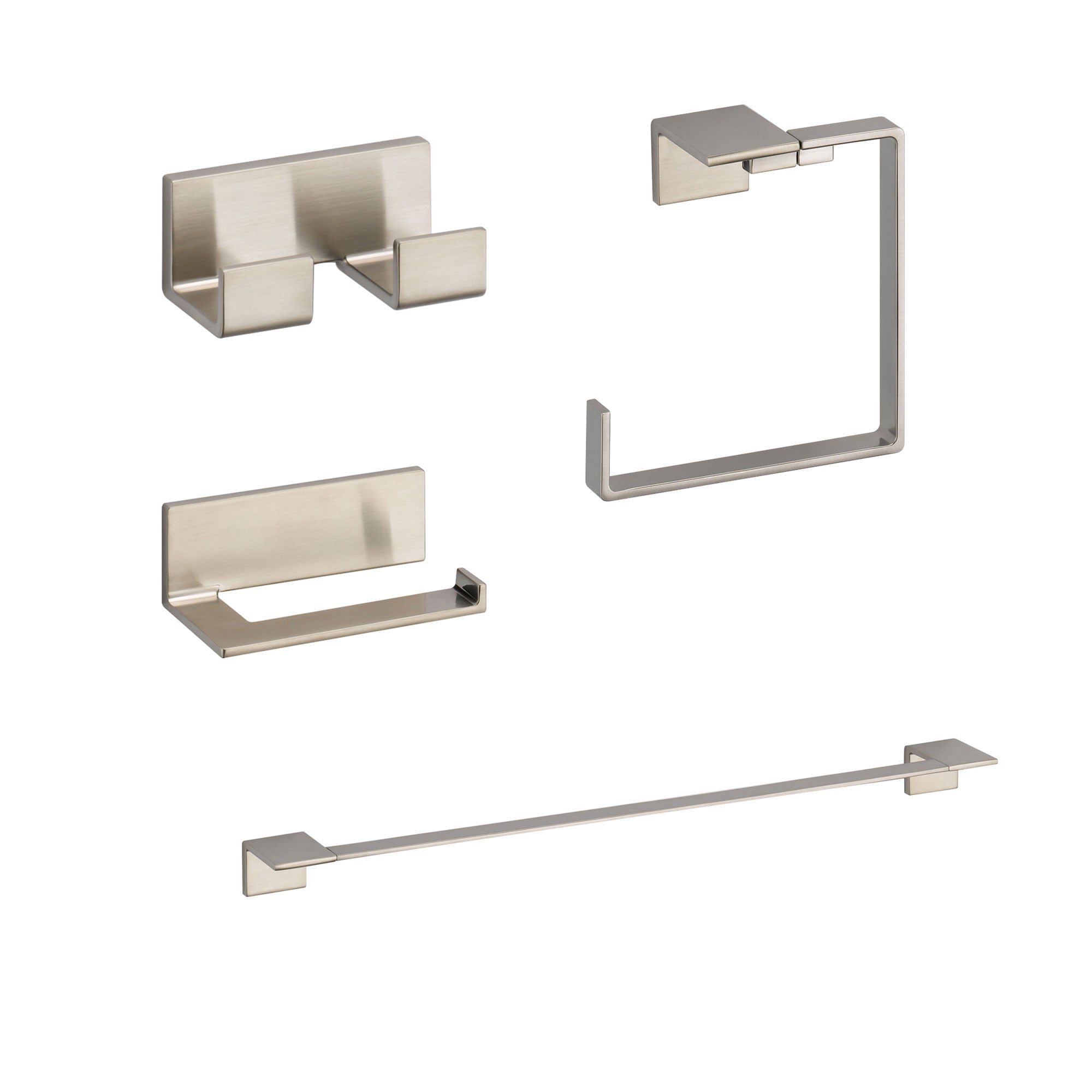 "Delta Vero Stainless Steel Finish STANDARD Bathroom Accessory Set: 24"" Towel Bar, Toilet Paper Holder, Double Robe Hook, and Towel Ring D10058AP"