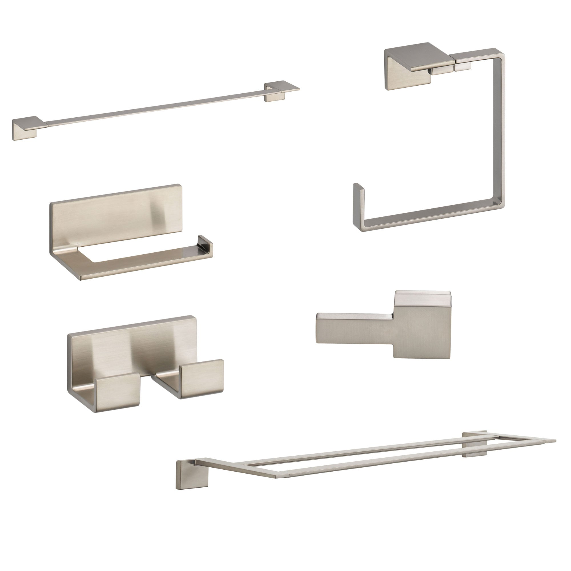 "Delta Vero Stainless Steel Finish DELUXE Accessory Set: 24"" Single and Double Towel Bar, Paper Holder, Towel Ring, Robe Hook, Tank Lever D10059AP"