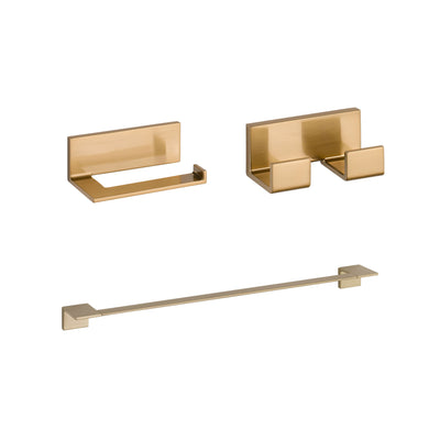 "Delta Vero Champagne Bronze BASICS Bathroom Accessory Set Includes: 24"" Towel Bar, Toilet Paper Holder, and Double Robe Hook D10060AP"