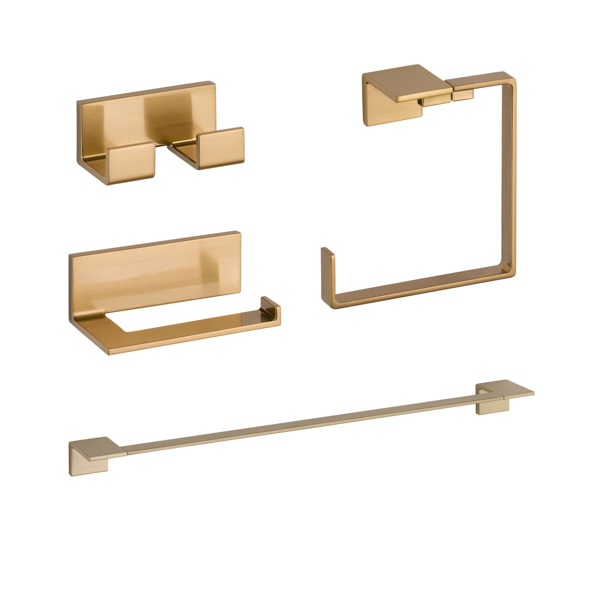 "Delta Vero Champagne Bronze STANDARD Bathroom Accessory Set Includes: 24"" Towel Bar, Toilet Paper Holder, Double Robe Hook, and Towel Ring D10061AP"