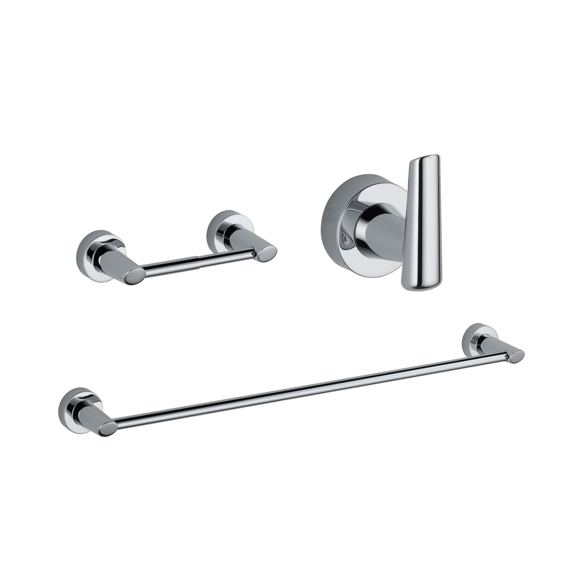 "Delta Compel Chrome BASICS Bathroom Accessory Set Includes: 24"" Towel Bar, Toilet Paper Holder, and Robe Hook D10071AP"