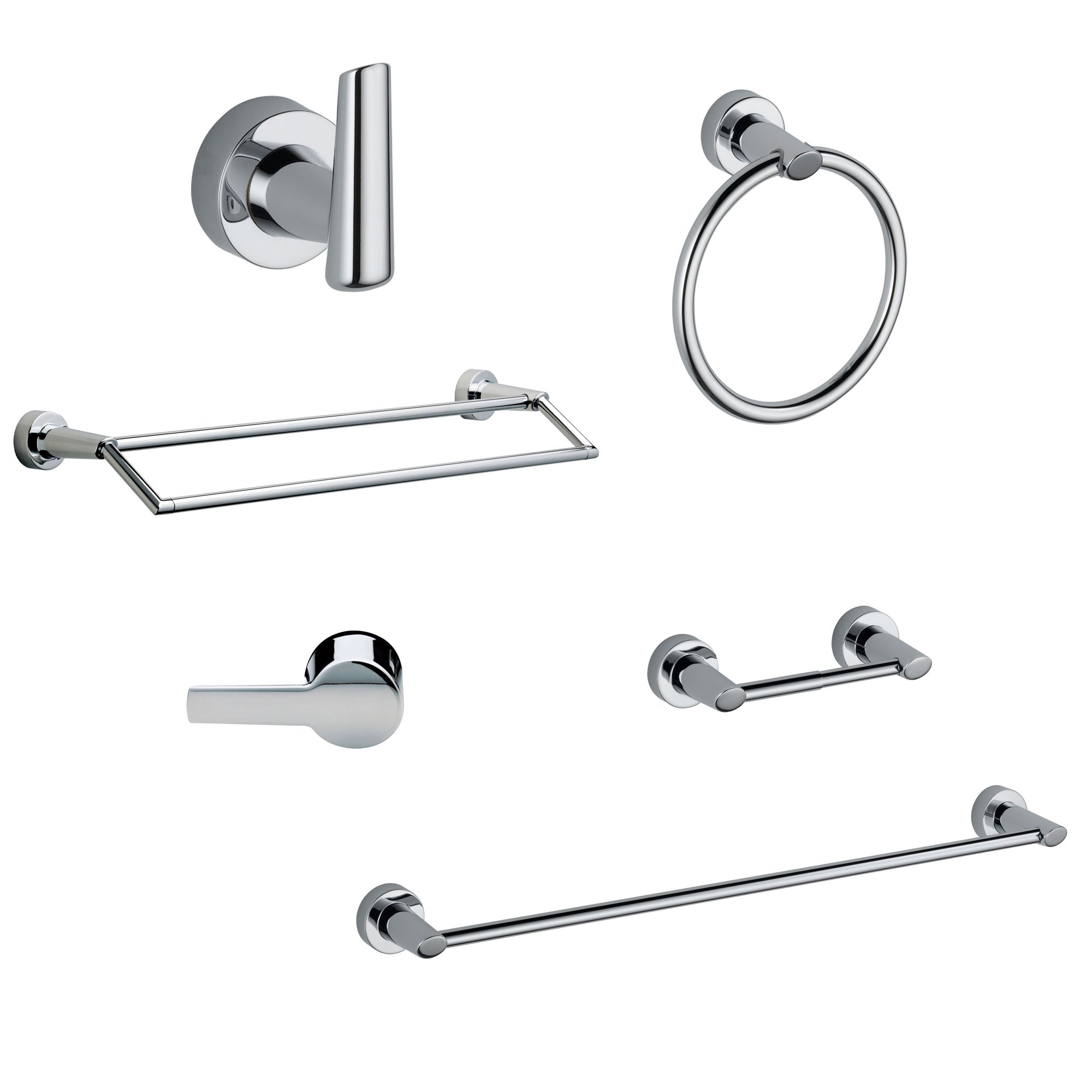 "Delta Compel Chrome DELUXE Accessory Set Includes: 24"" Towel Bar, Paper Holder, Robe Hook, Towel Ring, Tank Lever, and Double Towel Bar D10073AP"