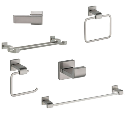 "Delta Ara Stainless Steel Finish DELUXE Accessory Set: 24"" Towel Bar, Paper Holder, Robe Hook, Towel Ring, Tank Lever & Double Towel Bar D10078AP"