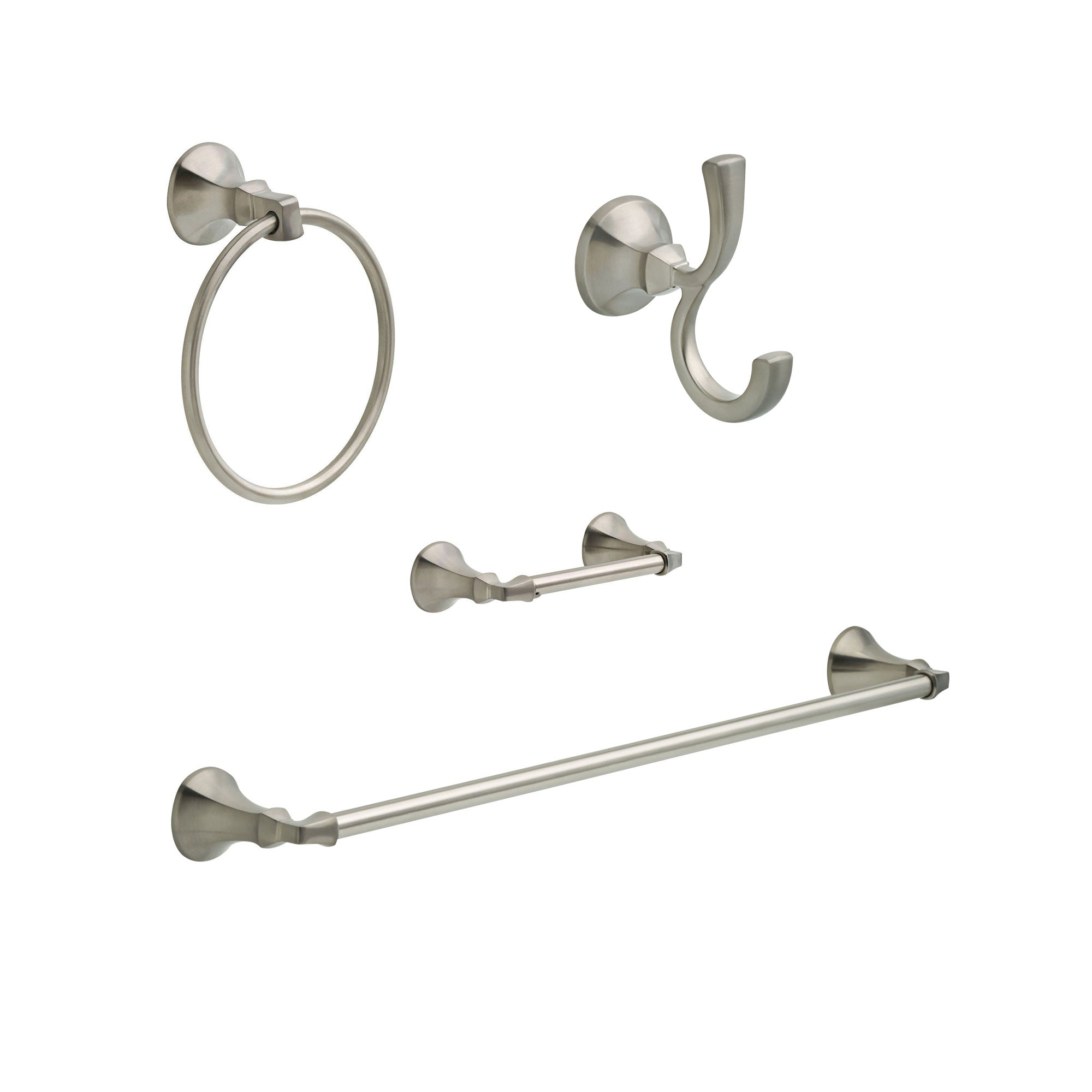 "Delta Ashlyn Stainless Steel Finish STANDARD Bathroom Accessory Set Includes: 24"" Towel Bar, Toilet Paper Holder, Robe Hook, and Towel Ring D10085AP"