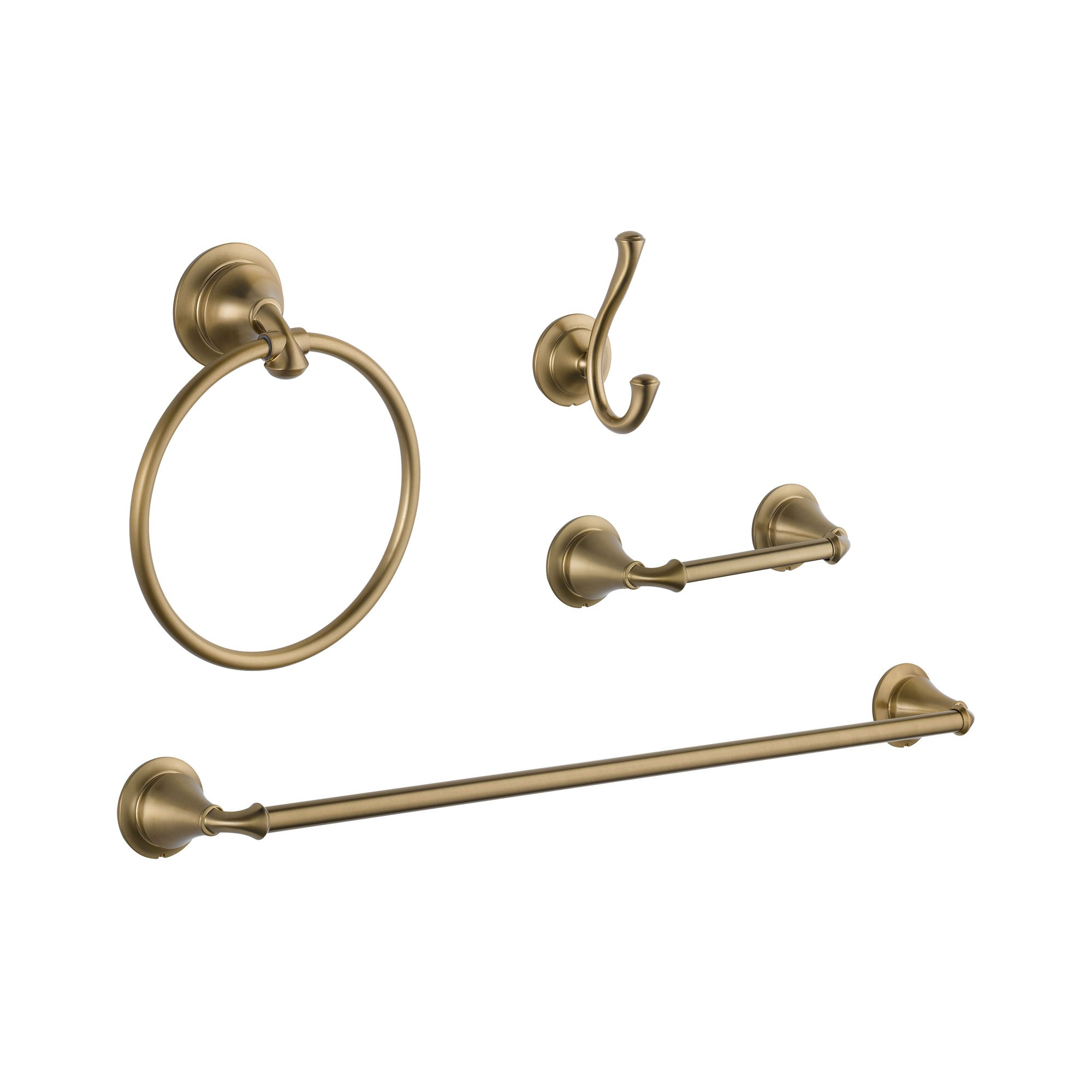 "Delta Linden Champagne Bronze STANDARD Bathroom Accessory Set Includes: 24"" Towel Bar, Toilet Paper Holder, Robe Hook, and Towel Ring D10103AP"