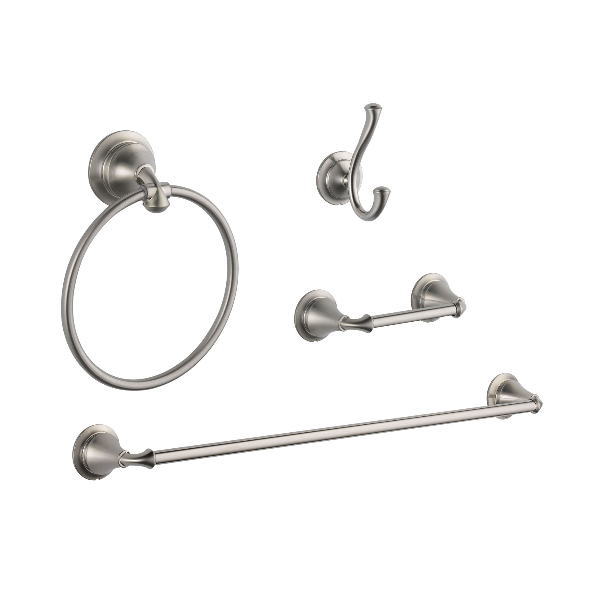 "Delta Linden Stainless Steel Finish STANDARD Bathroom Accessory Set Includes: 24"" Towel Bar, Toilet Paper Holder, Robe Hook, and Towel Ring D10105AP"