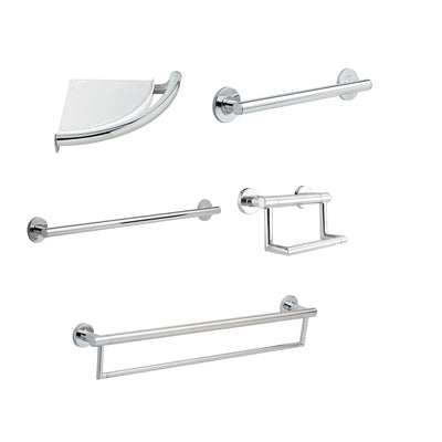 "Delta Bath Safety Contemporary Chrome DELUXE Bathroom Grab Bar Accessory Set: 24"" Double Bar, Corner Shelf, TP Holder, 18"" and 36"" Single Bar D10109AP"