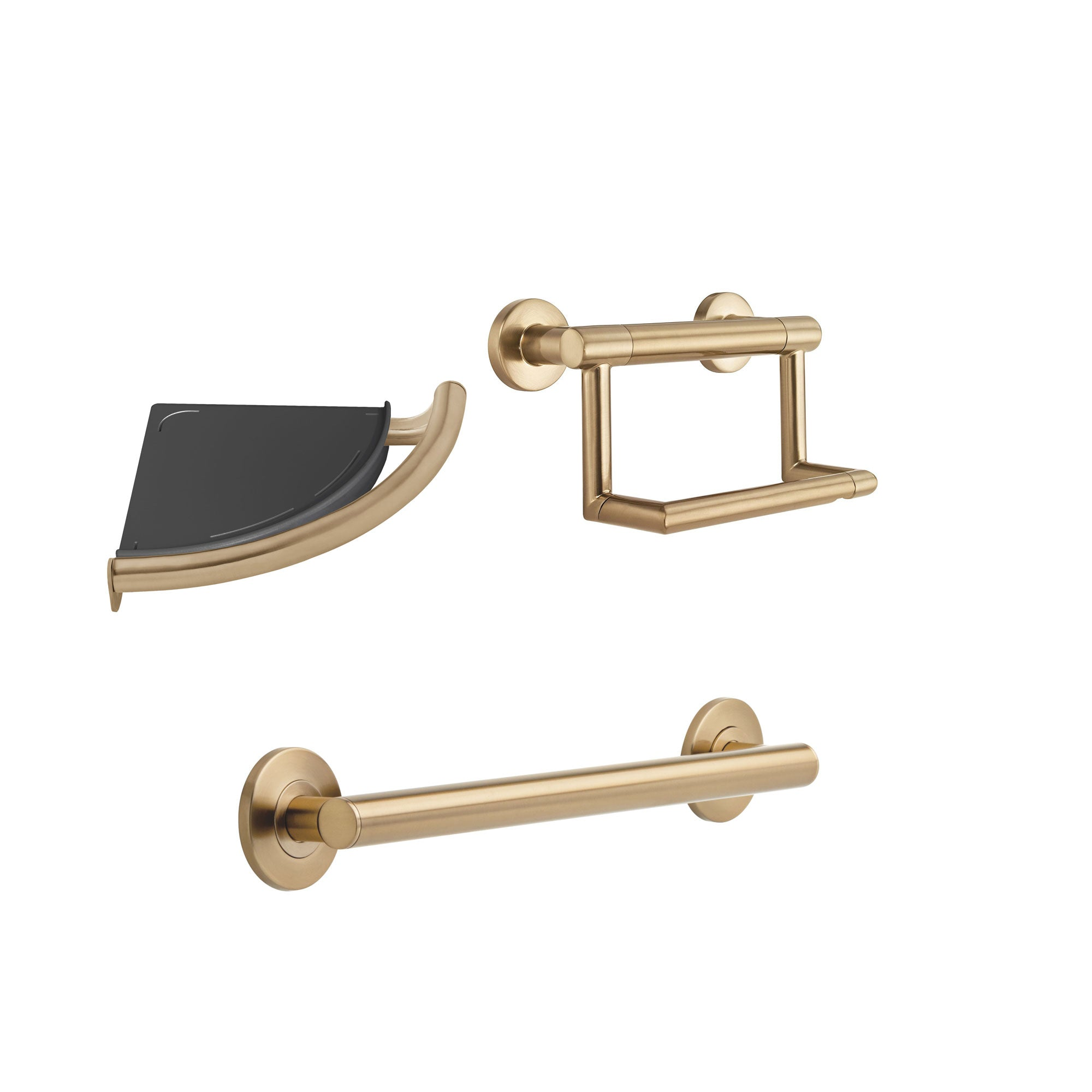 "Delta Bath Safety Champagne Bronze BASICS Bathroom Accessory Set Includes: 18"" Grab Bar, Corner Shower Shelf, TP Holder w/ Assist Grab Bar D10110AP"