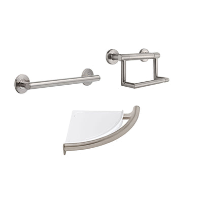 "Delta Bath Safety Stainless Steel Finish BASICS Accessory Set Includes: 18"" Grab Bar, Corner Shower Shelf, TP Holder with Assist Grab Bar D10112AP"