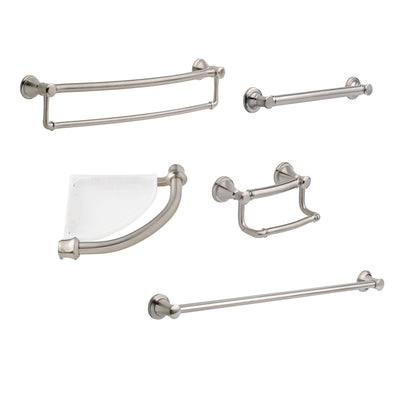 "Delta Bath Safety Stainless Steel Finish DELUXE Accessory Set Includes: 18"" and 36"" Single Grab Bar, Corner Shelf, TP Holder, 24"" Double Bar D10121AP"