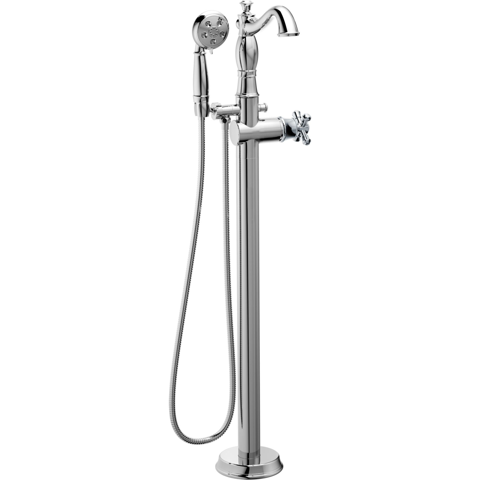 Delta Traditional Chrome Floor Mount Tub Filler Faucet with Hand Shower Spray INCLUDES Valve and Metal Cross Handle D1054V