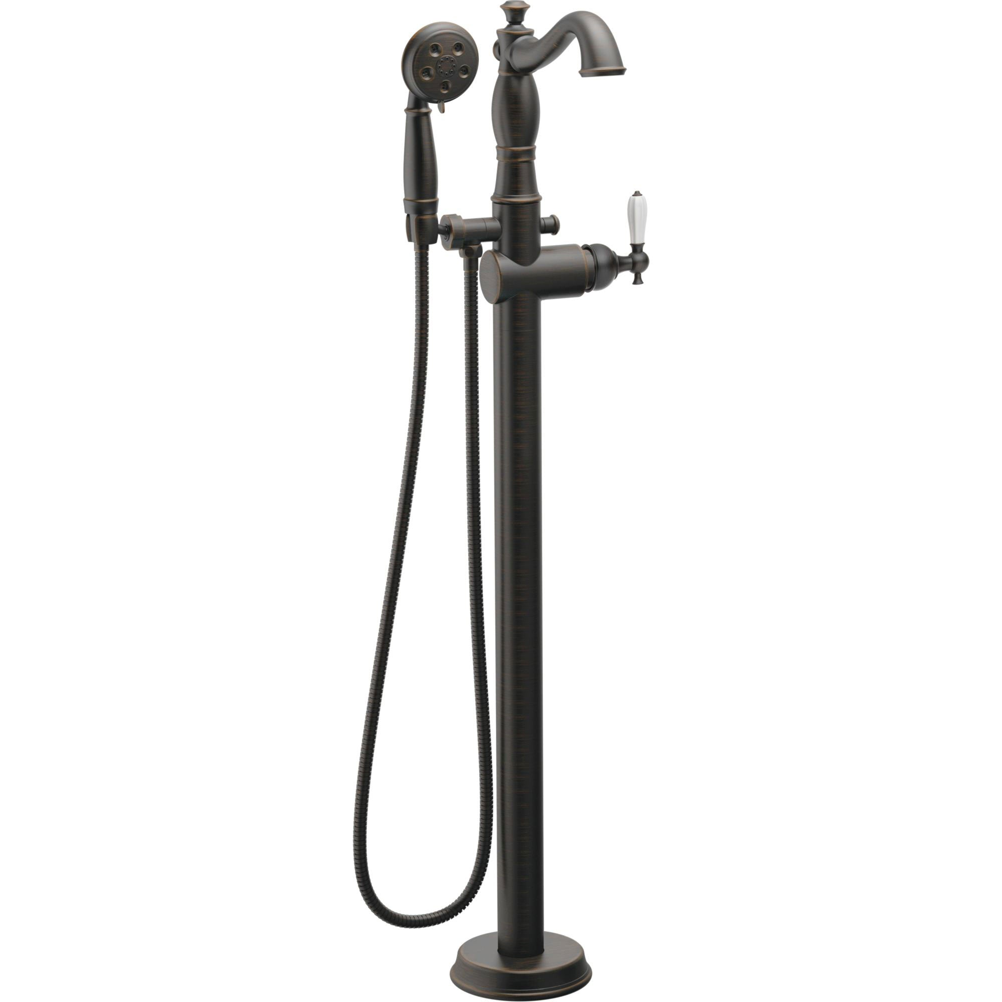 Delta Traditional Venetian Bronze Floor Mount Tub Filler Faucet with Hand Shower Spray INCLUDES Valve and Porcelain Lever Handle D1057V